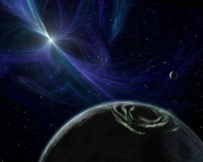 A planet orbiting a pulsar, a rapidly spinning type of neutron star.