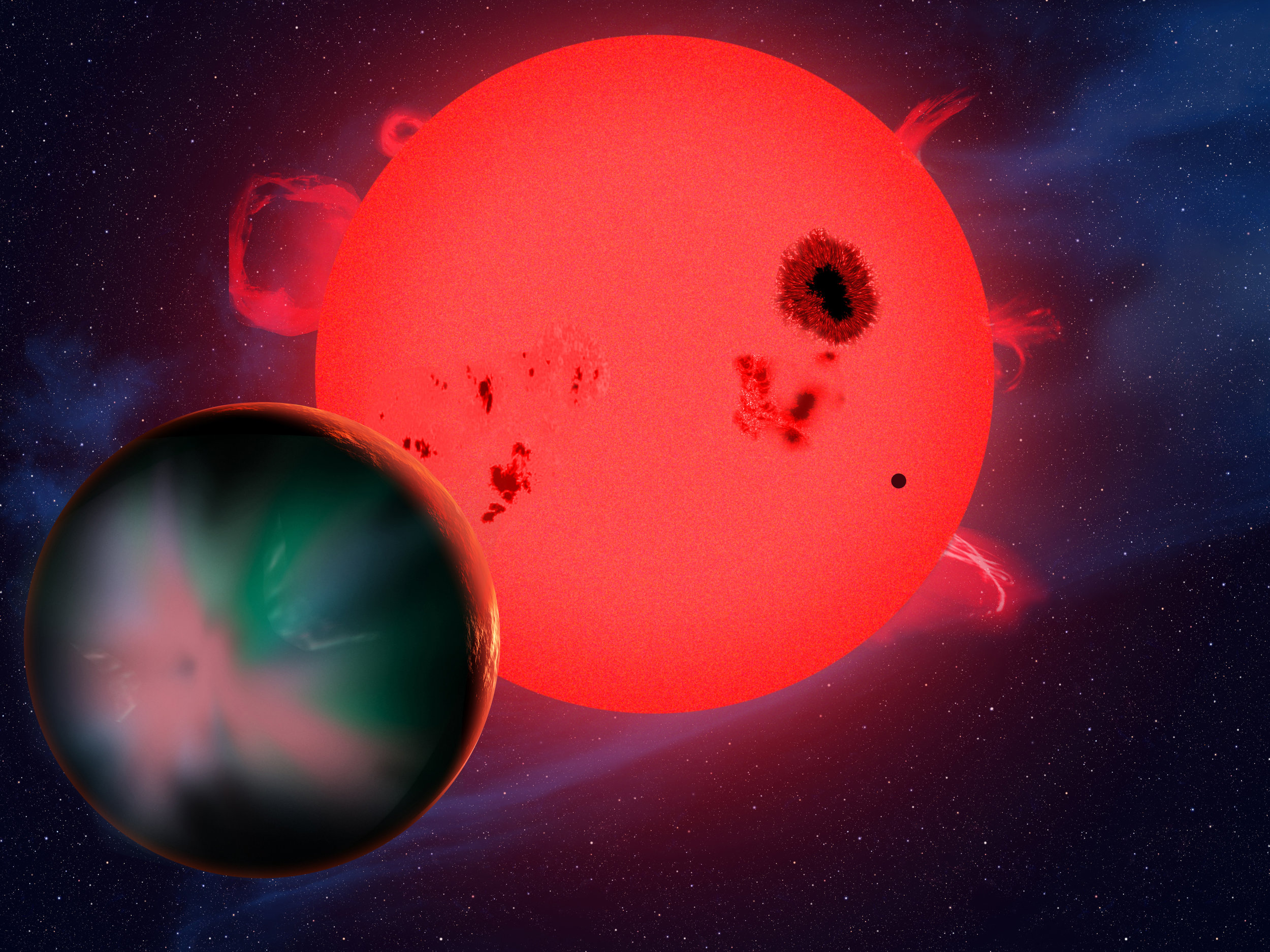 The planet GJ 1214 b orbits a small, red dwarf star.