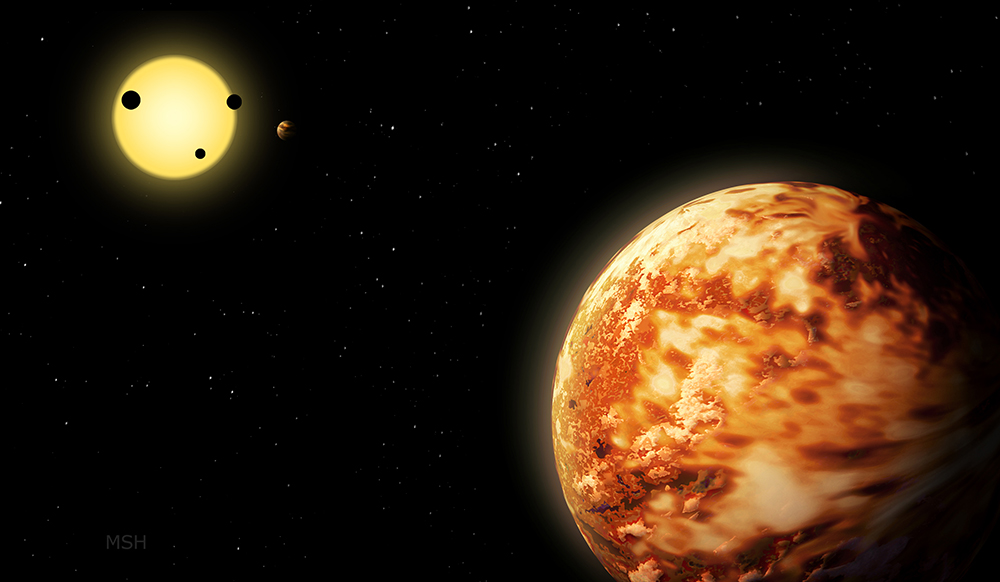 The planet Kepler-150 f and its star's other four planets in the background.