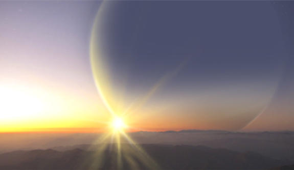 Artist's impression of the view from a moon around planet PH2 b (credit: Haven Giguere).