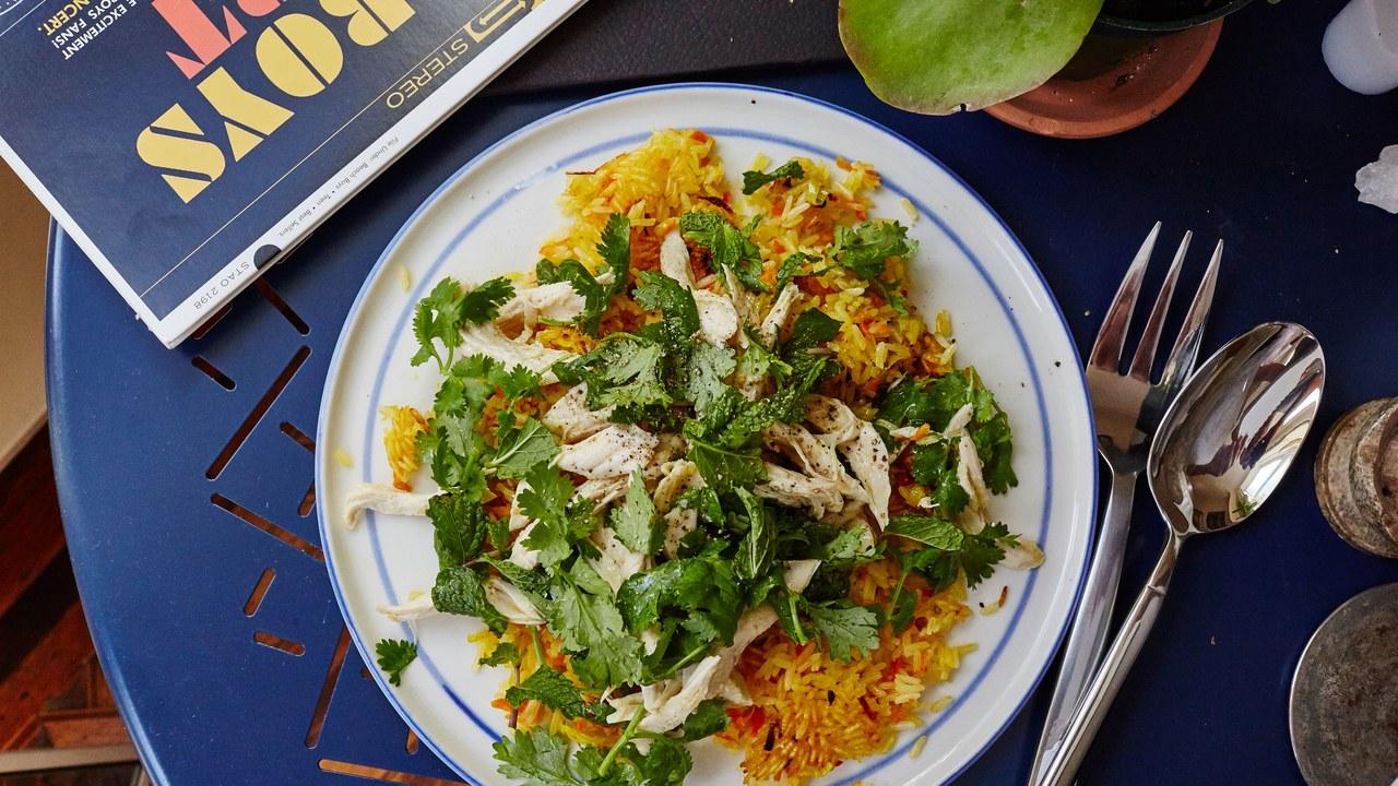 Herbed Chicken Salad over Crispy Rice