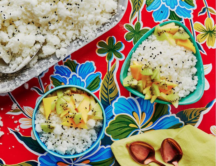 Horchata Granita With Kiwi, Mango and Pineapple