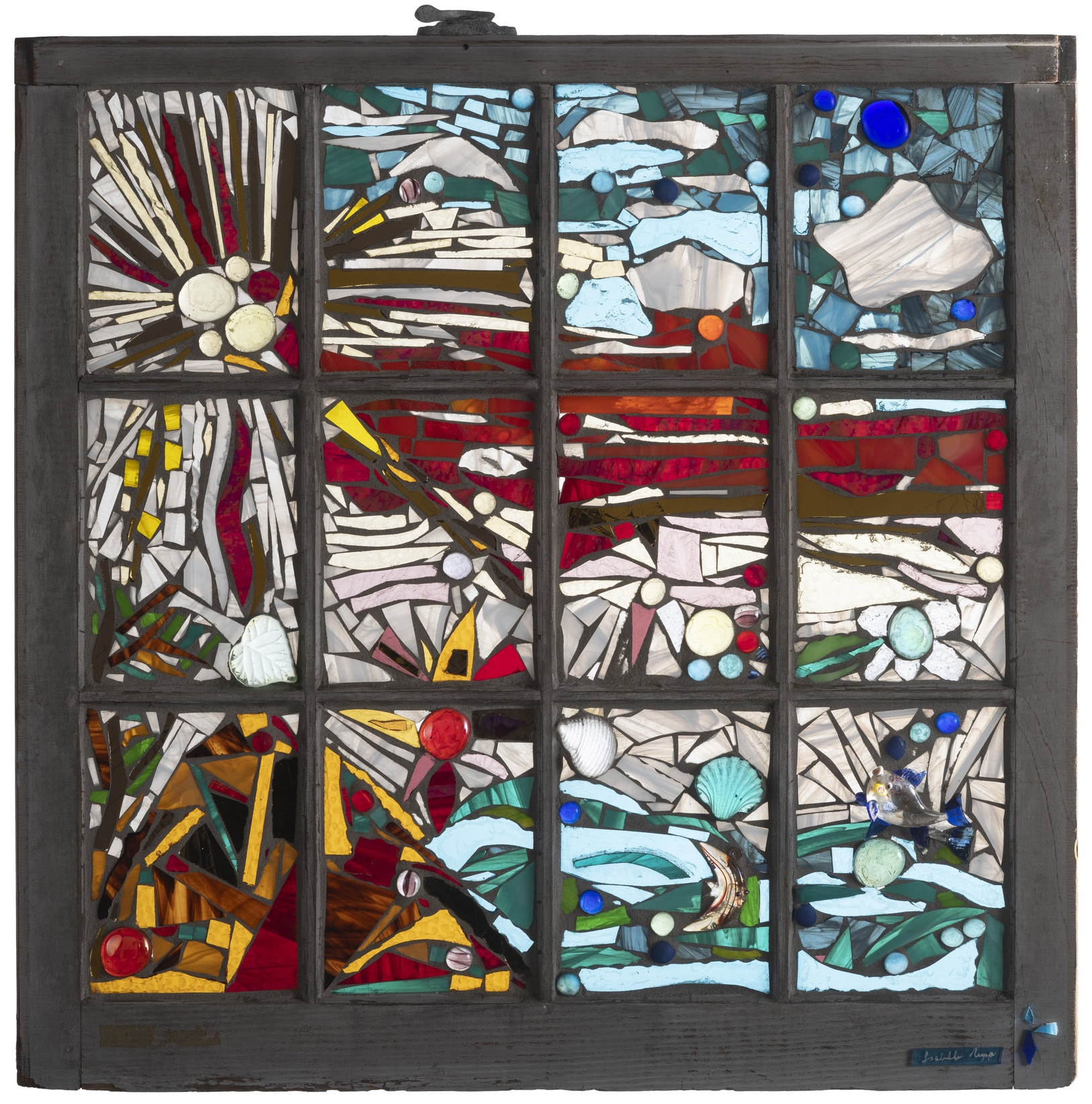 Becoming Isabella, 2000. Glass, 27 x 27 in.   Window from Cape Cod style home, Wellfleet, MA