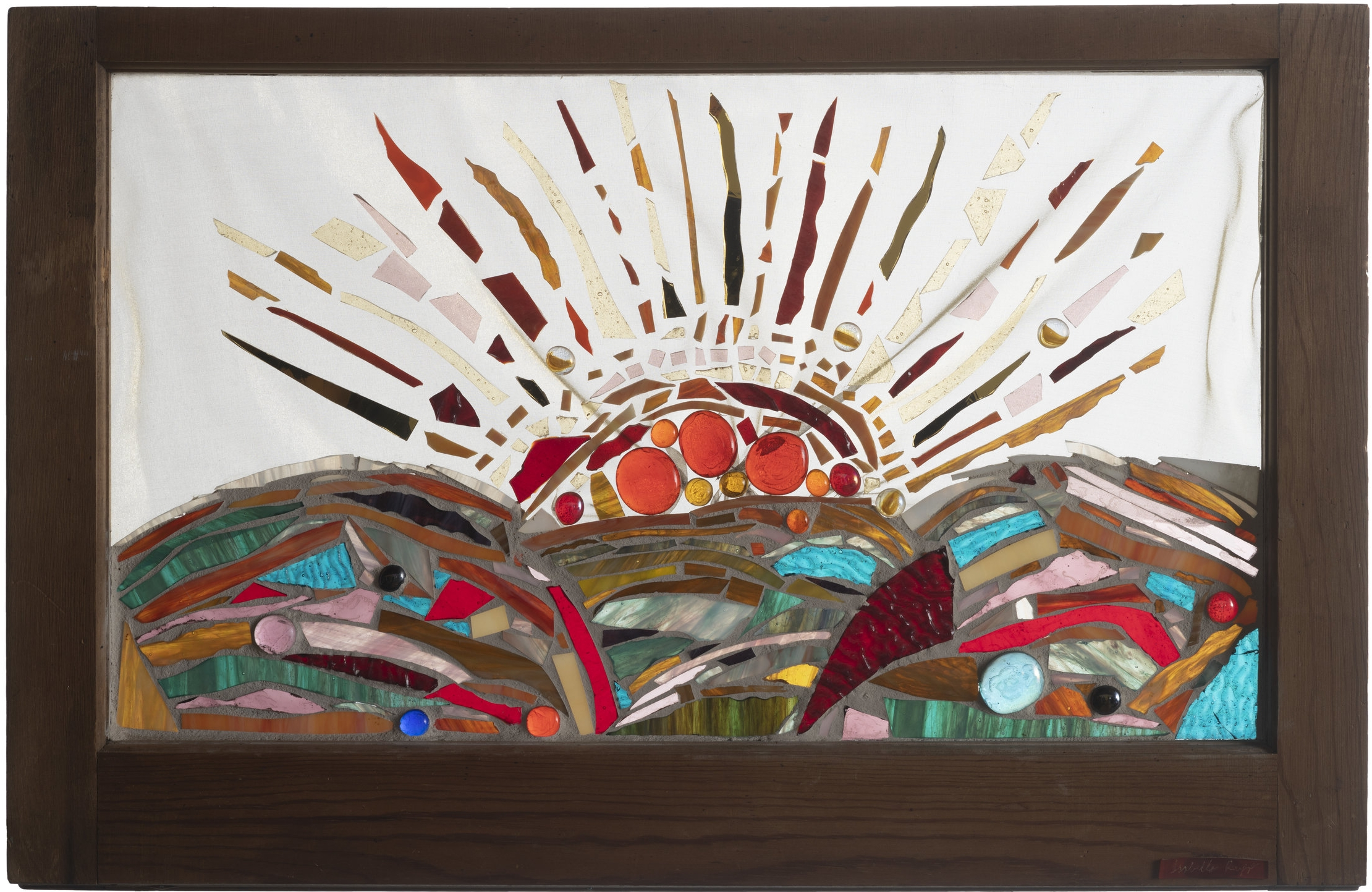 Sunburst, 2001. Glass, fabric, 17½ x 28 in.   50-year old wood frame window from 1805 farmhouse in Catskill Mountains, NY