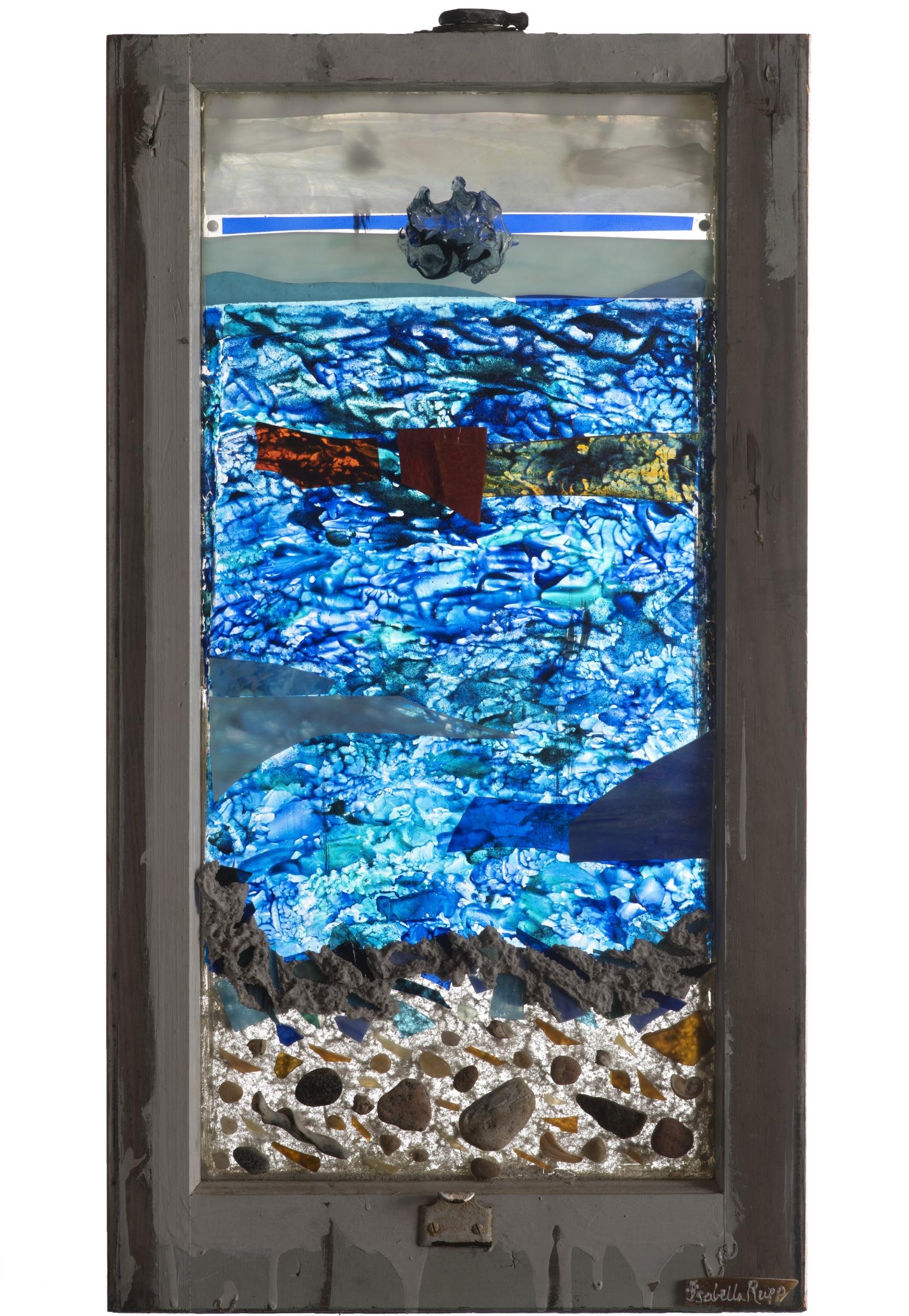 Rock-n-Roll, 2009. Flameworked glass, acrylic paint, clay, 29 x 16 in.   Window from Chelsea, New York, NY