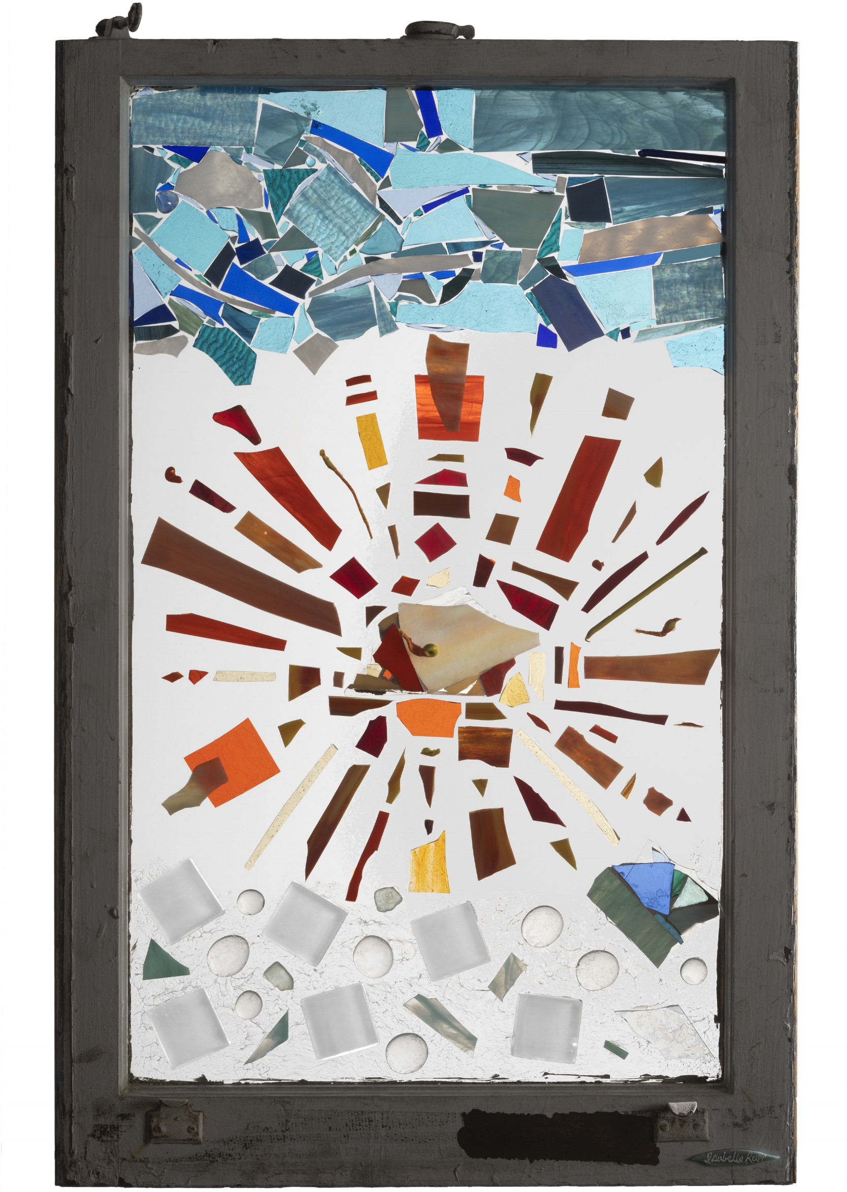 Melt, 2009. Fused, flameworked, and cold-cut glass, gel medium, 34 x 21¾ in.   Window from Chelsea, New York, NY