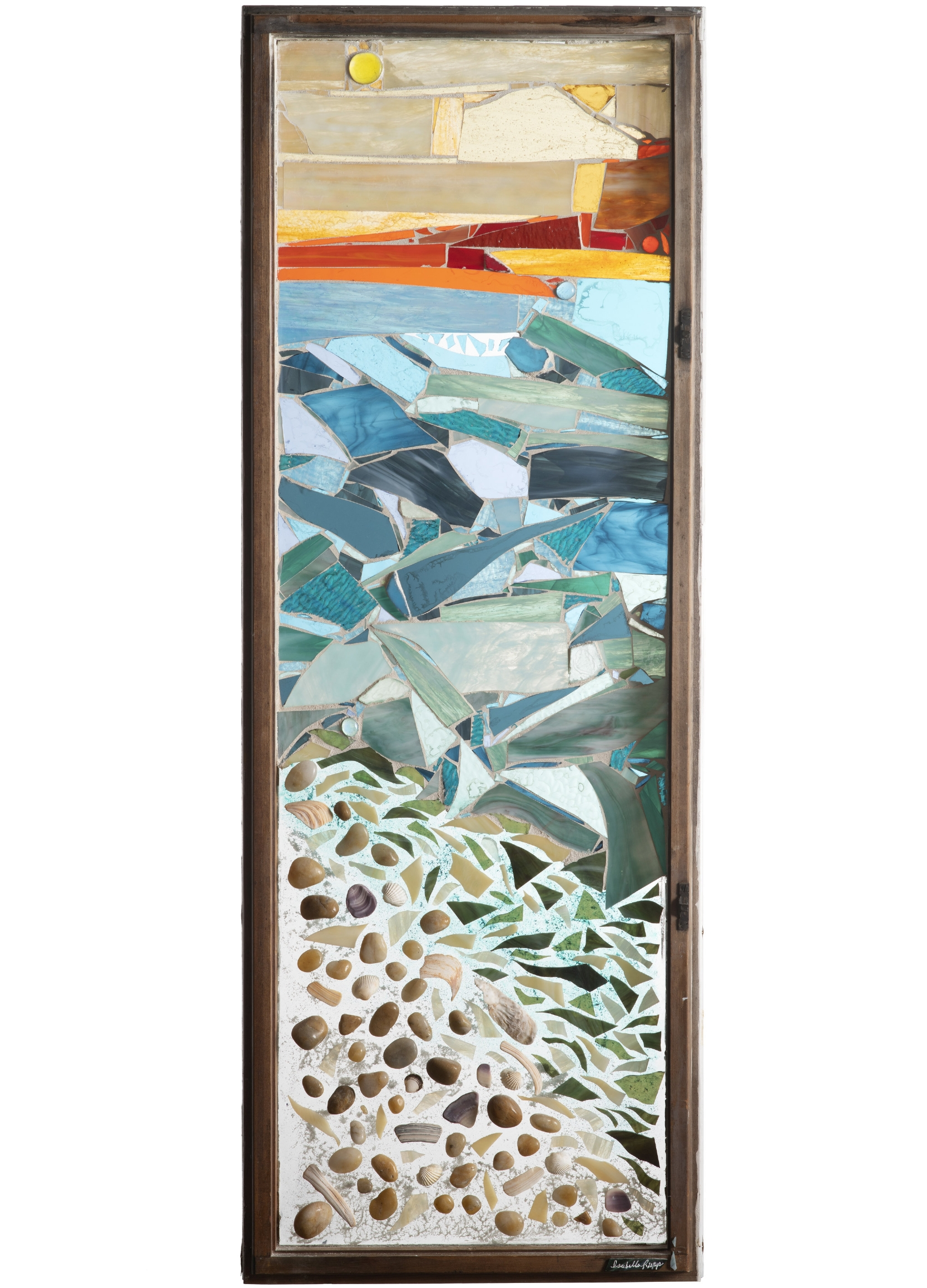 Beachcomber, 2003. Glass, paint, shells, stones, 51 x 19 in.   Bay window from Northport, NY