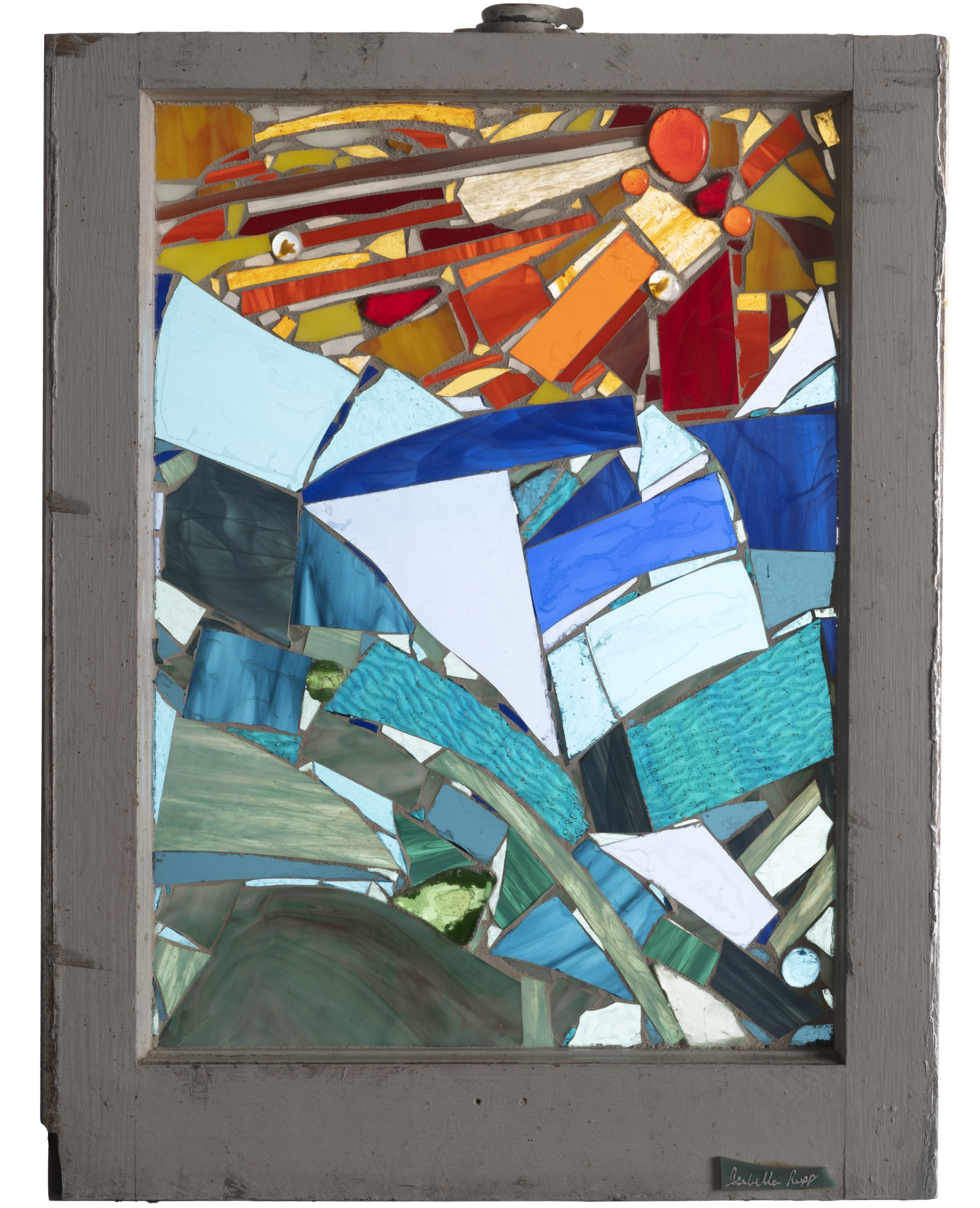 Catch-a-Wave, 2003. Glass, 24 x 20 in.   Window from Chelsea, New York, NY