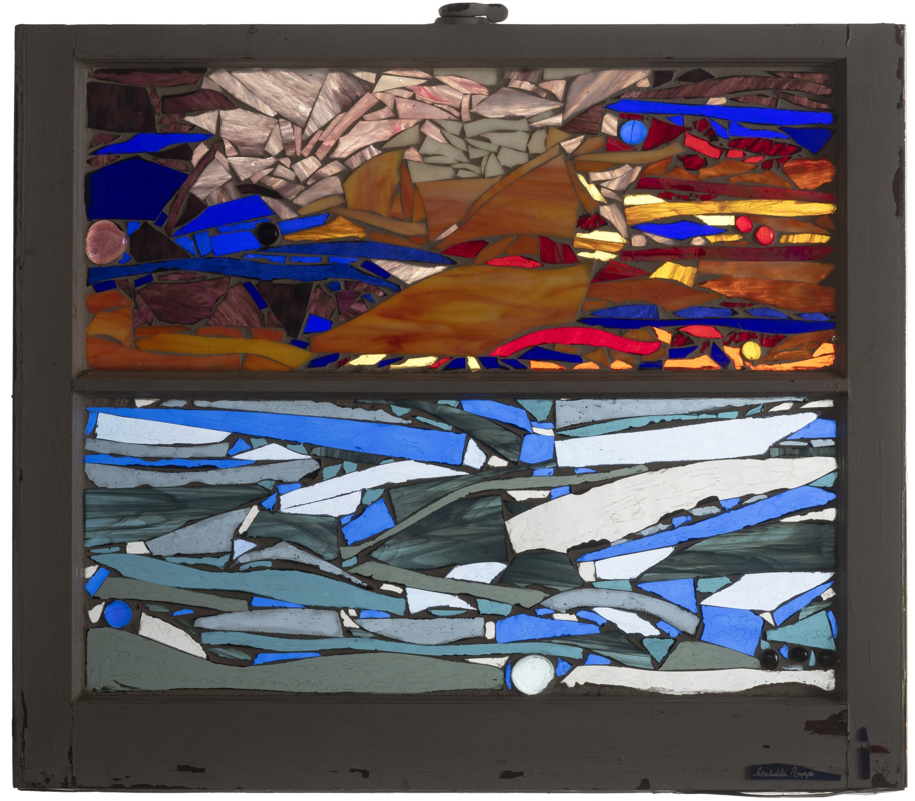 """Dawning Light, 2001. Glass, 28 x 24 in.   Window from """"The Meadow Club"""", Southampton, NY"""