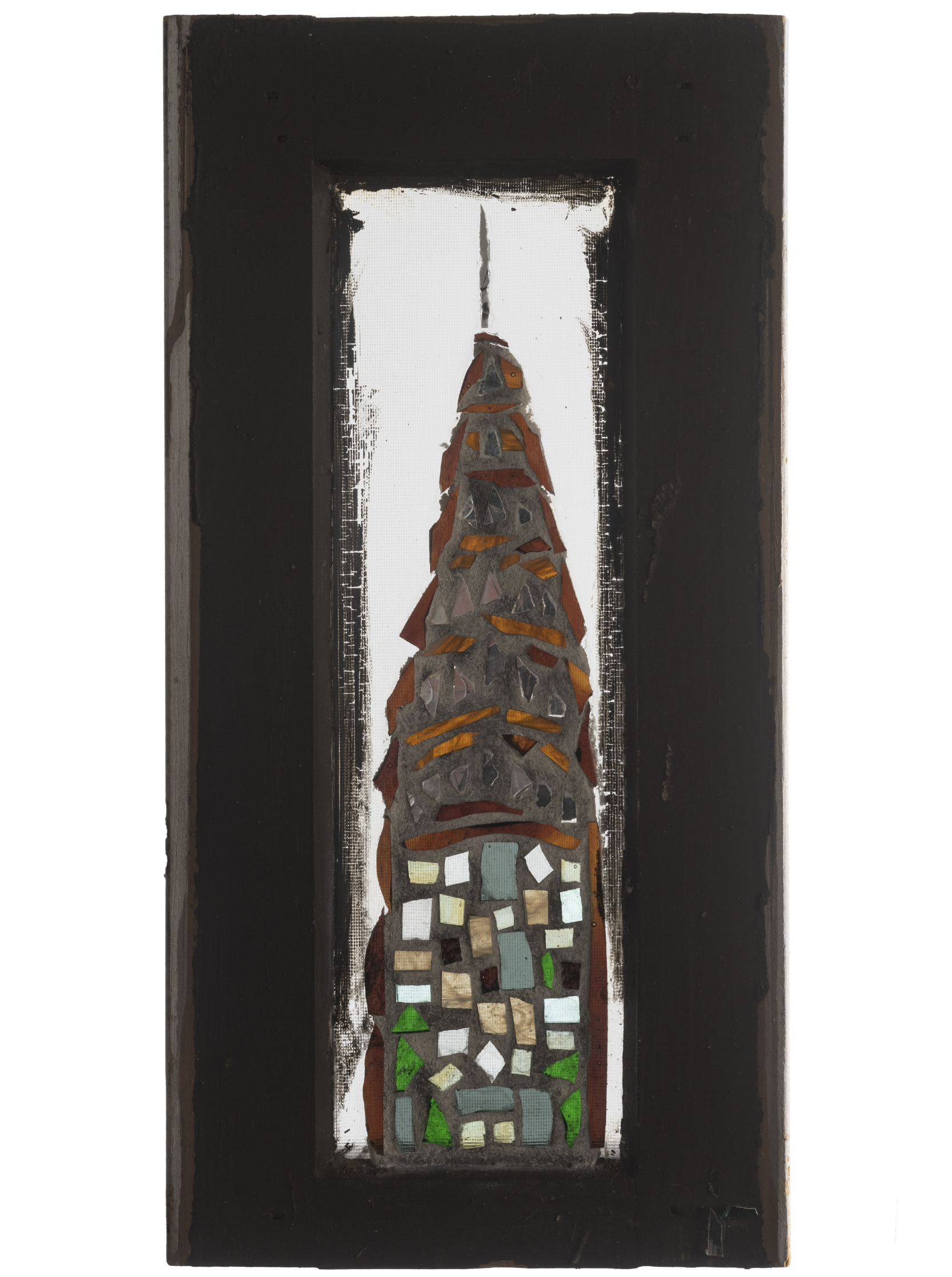 Chrysler, 2001. Glass, 16 x 8 in.   Window from West 24th St., New York, NY