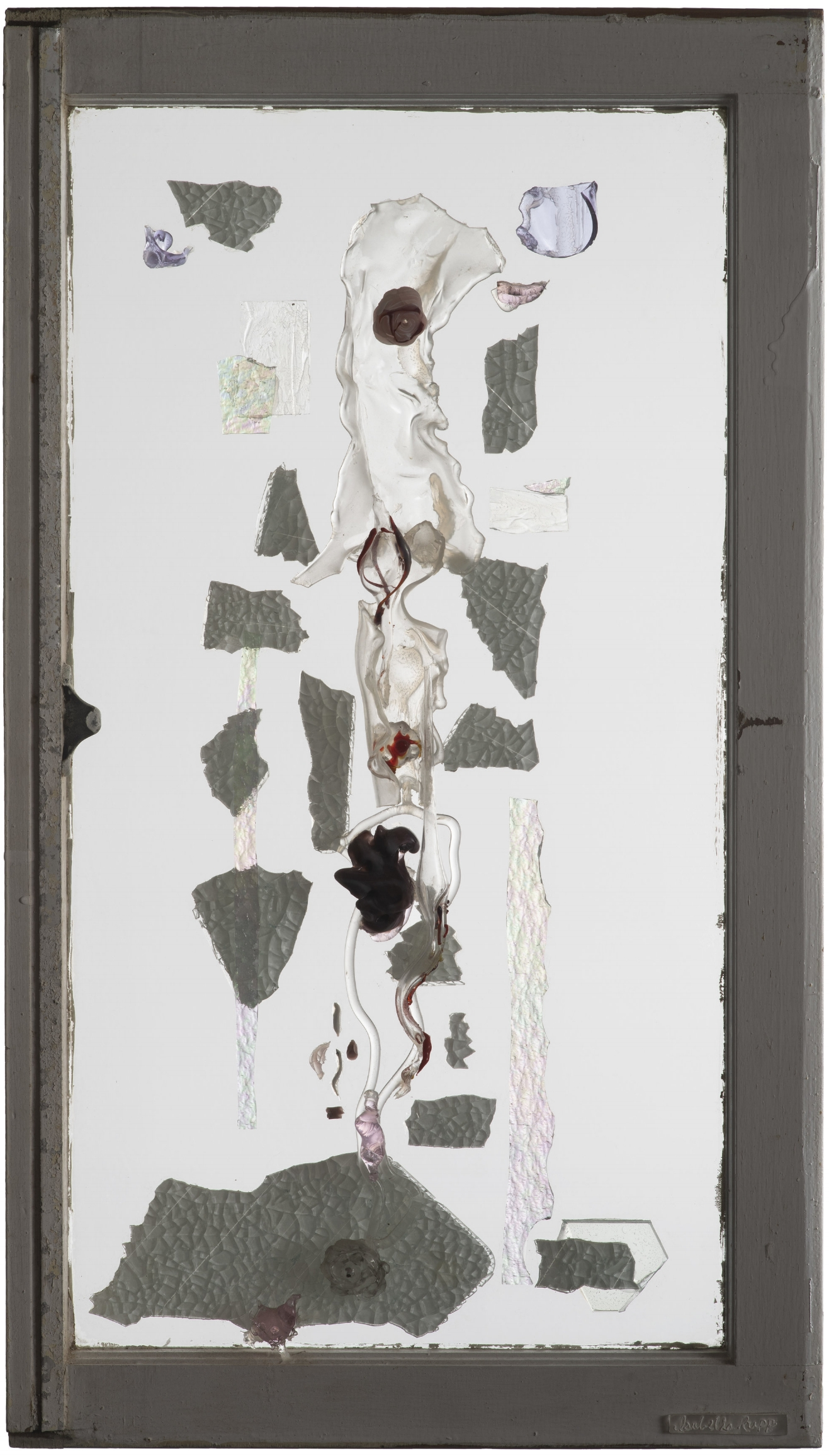 Breech, 2007. Flameworked and cold-cut glass, 32 x 18 in.   Window from Northport, NY