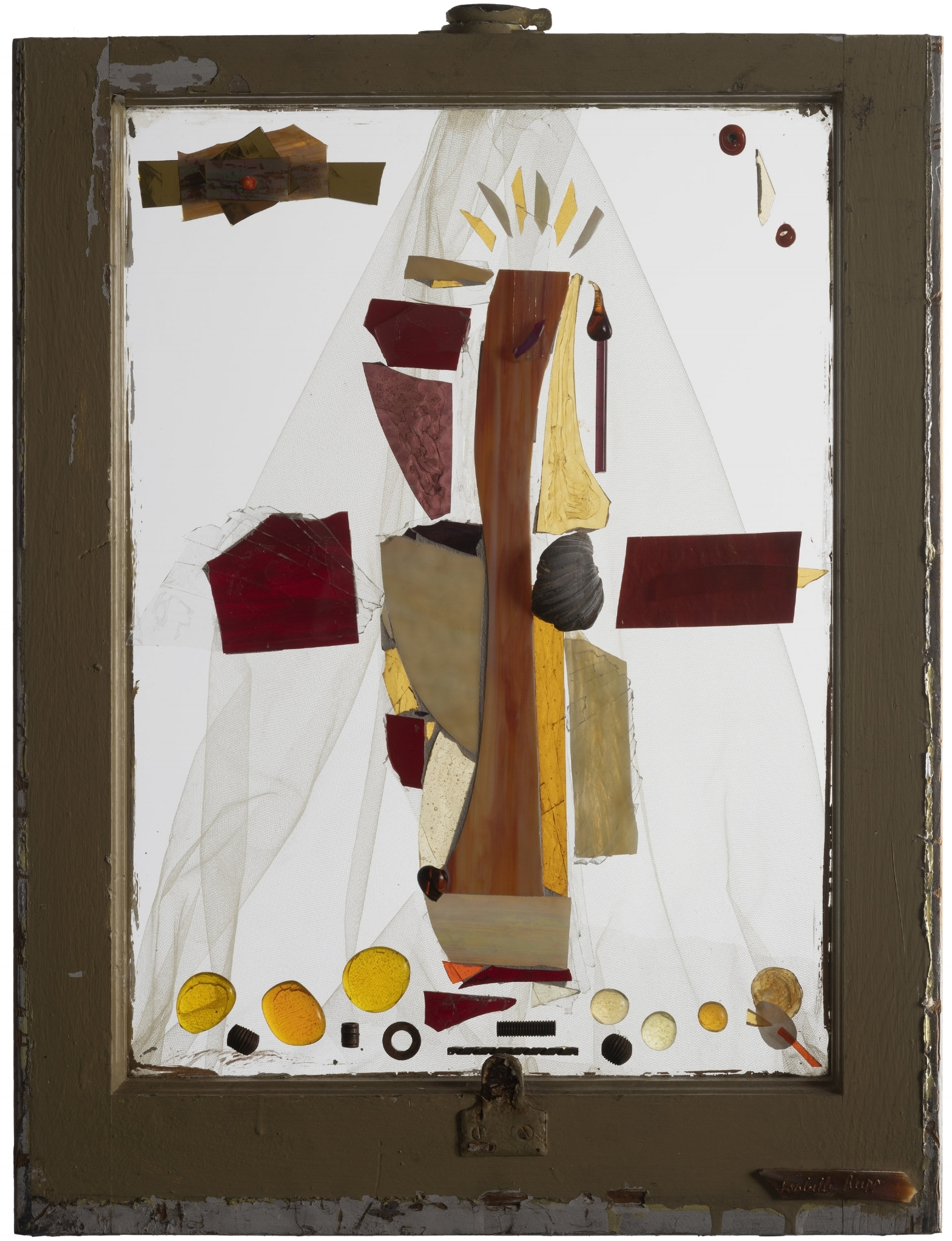 The One Without A Name, 2009. Flameworked and cold-cut glass, shells, metal, fabric, 22 ½  x 18 in.   Window from Chelsea, New York, NY