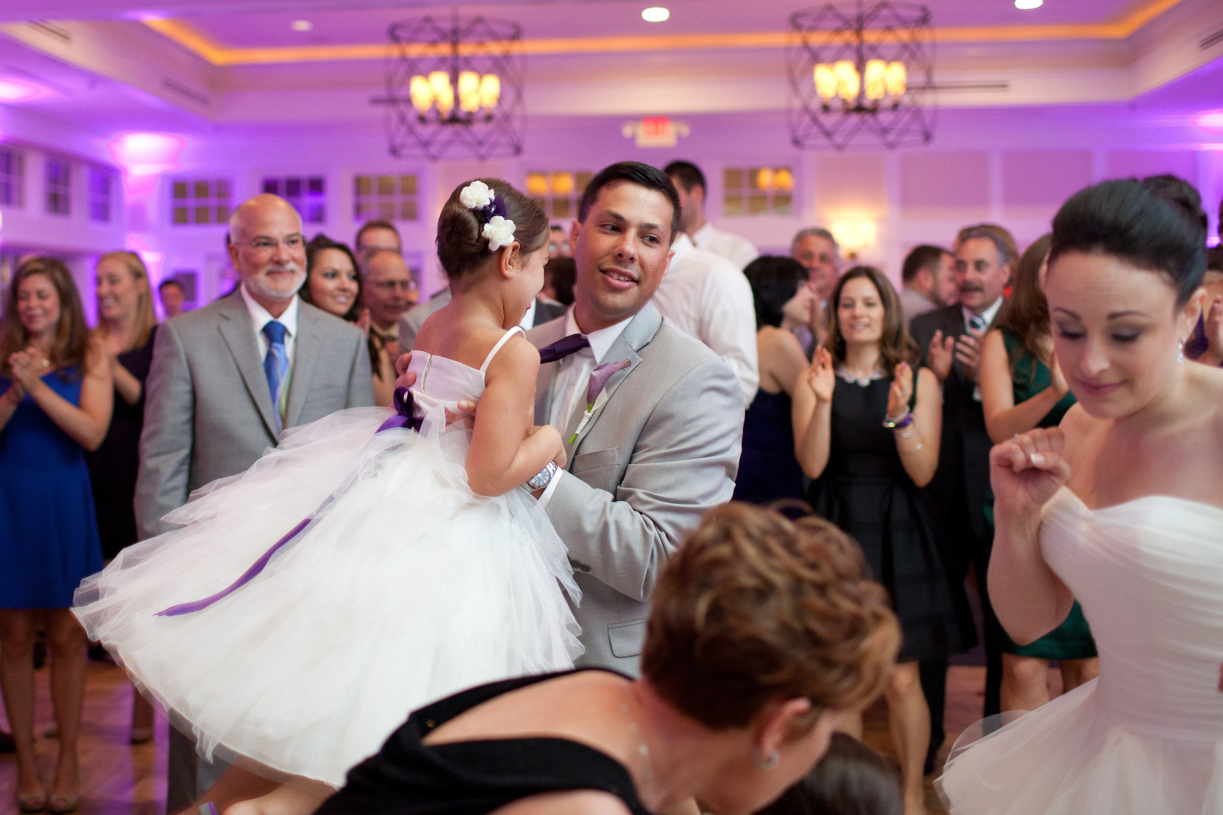 Check out our purple room uplights in the Chesapeake Bay Beach Club's Sunset Ballroom.. they perfectly accented our couple's floral centerpieces. (Photo credit: Liz & Ryan Photography)