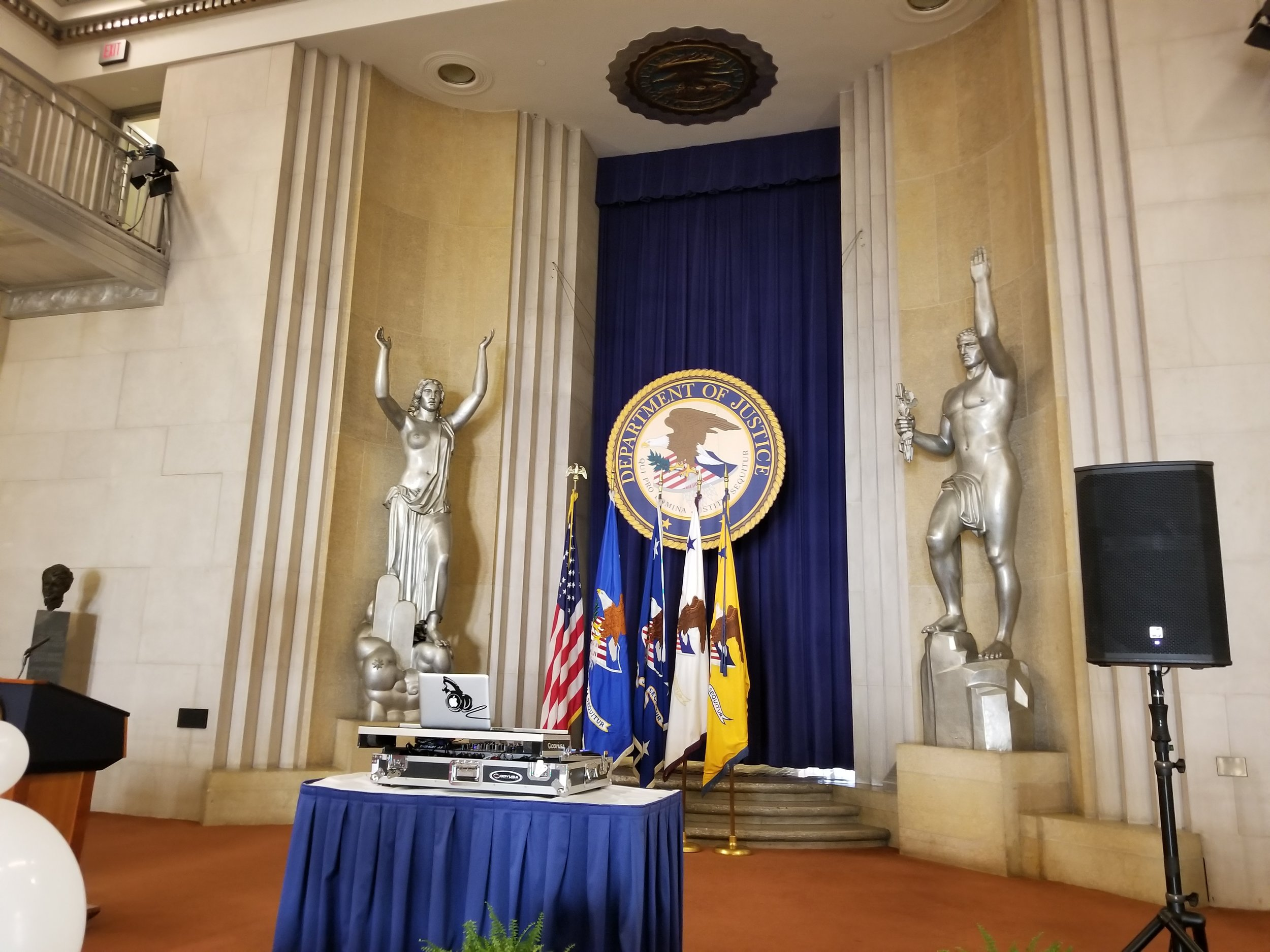 Setting up to entertain at the Main Justice building in Washington D.C. to entertain hard working federal employees pro bono.