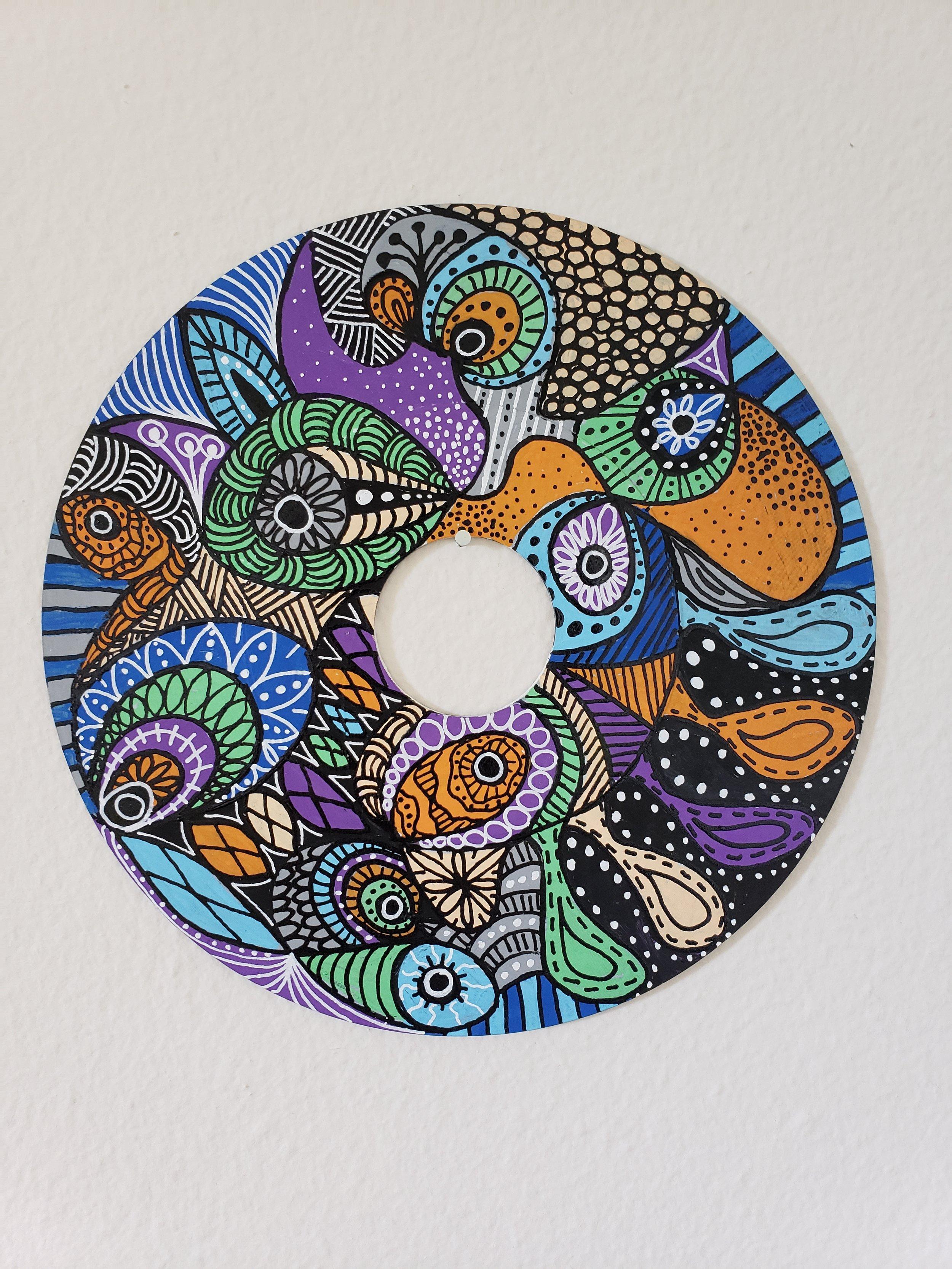 "Aquarium - 7"" Mandala on 45 Vinyl Record"