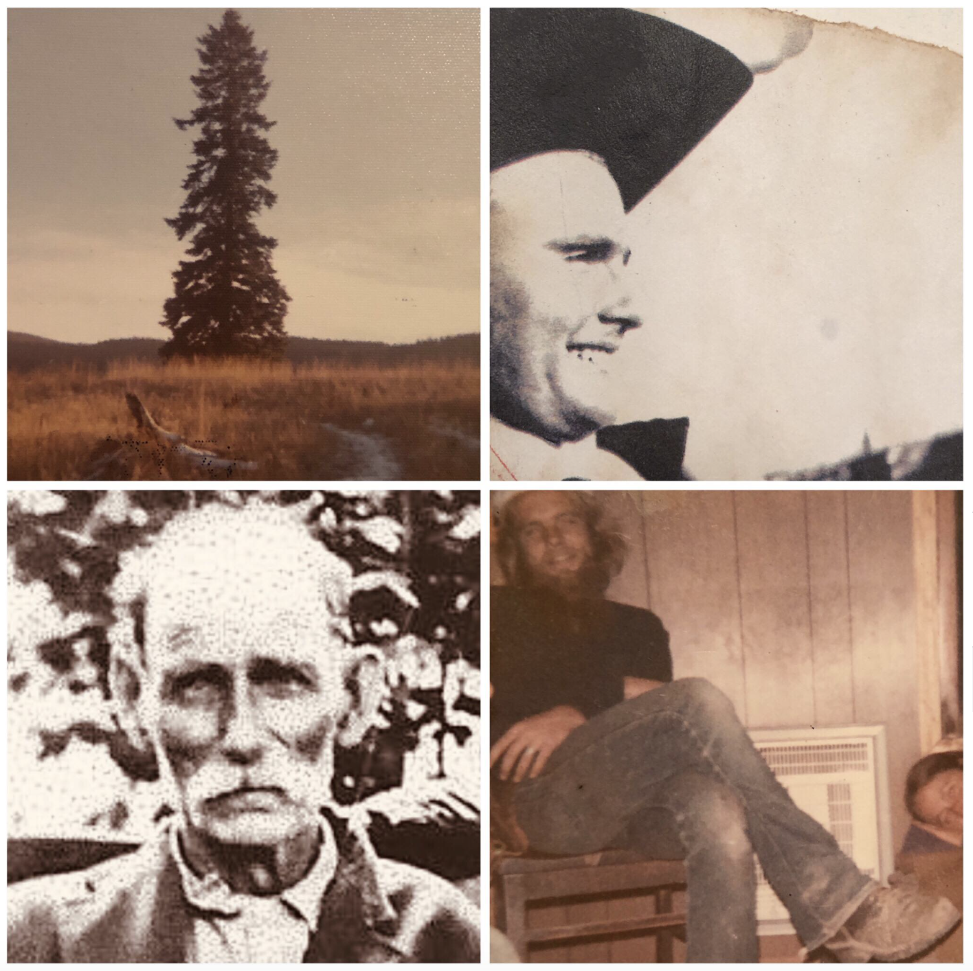 clockwise:  THE  tree, my grandpa Bill in his cowboy band, my father around the time I was conceived, my (many times) great-grandfather Andrew.