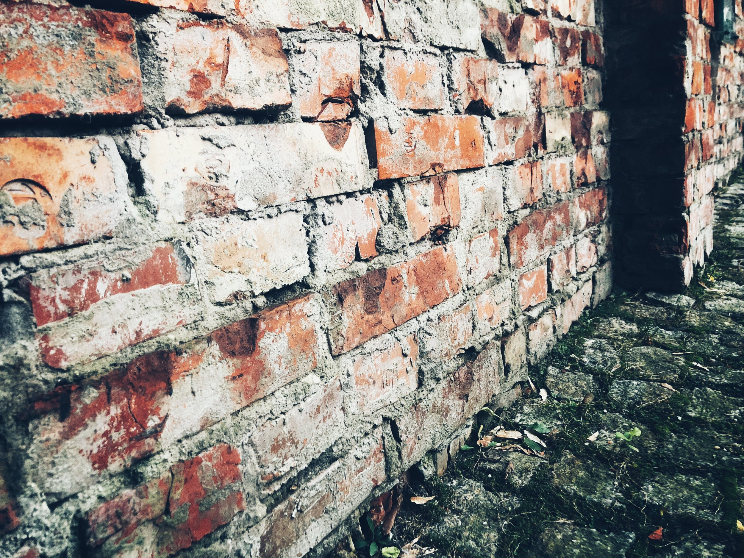 remains of the wall, close