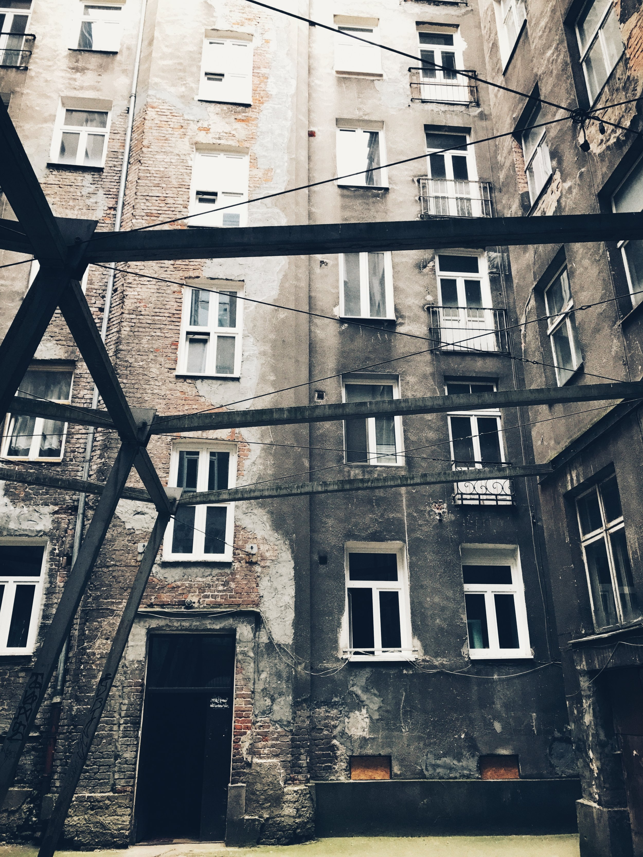 courtyard, abandoned building