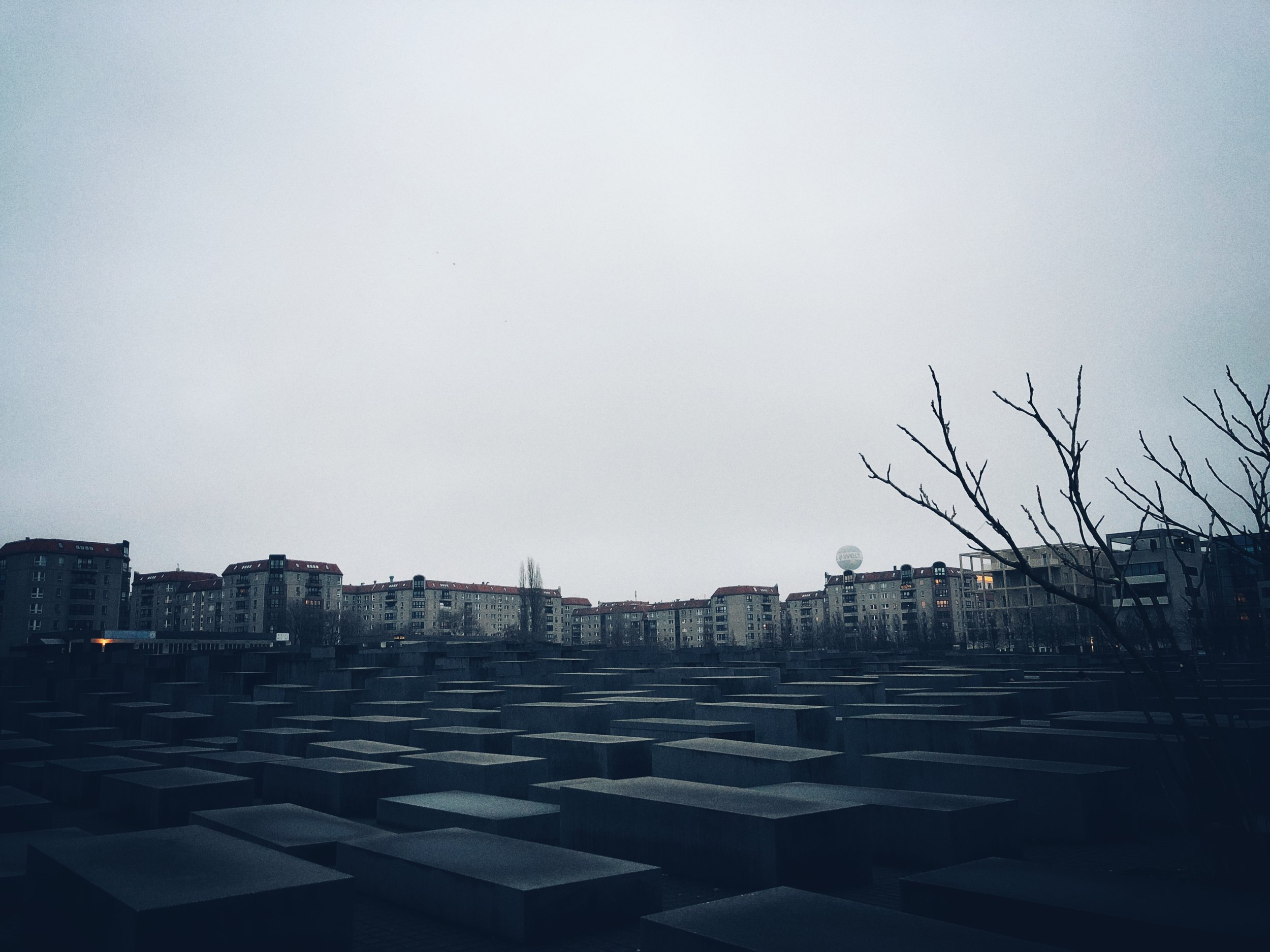view of former bunker site from the memorial to the murdered jews of europe