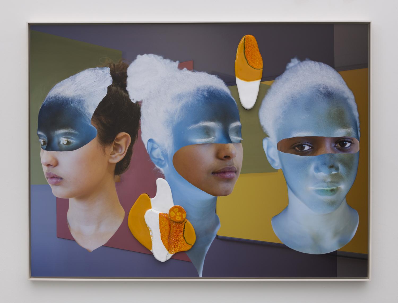 Denis Darzacq & Anna Lüneman,  Doublemix In Situ No. 9 , 2017  Digital pigment print with earthenware insert, 41.1 x 54.8 x 1.5 in (approx. 104 × 139 x 4 cm), unique   Inquire