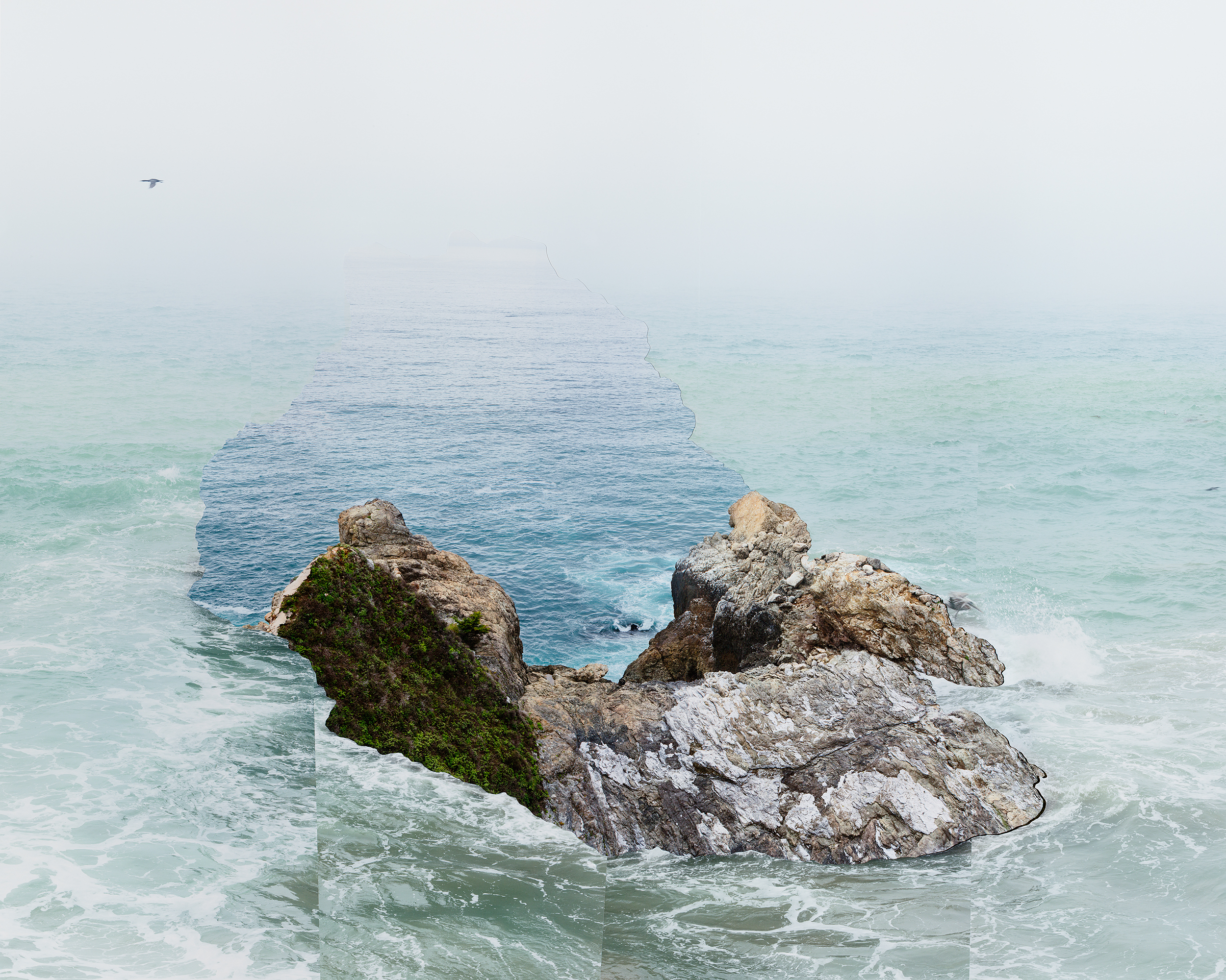 Laura Plageman,  Response to Print of Pelican Rock, California , 2014  Digital pigment print, 32 x 40 in, edition of 4; 20 x 25 in, edition of 5   Inquire