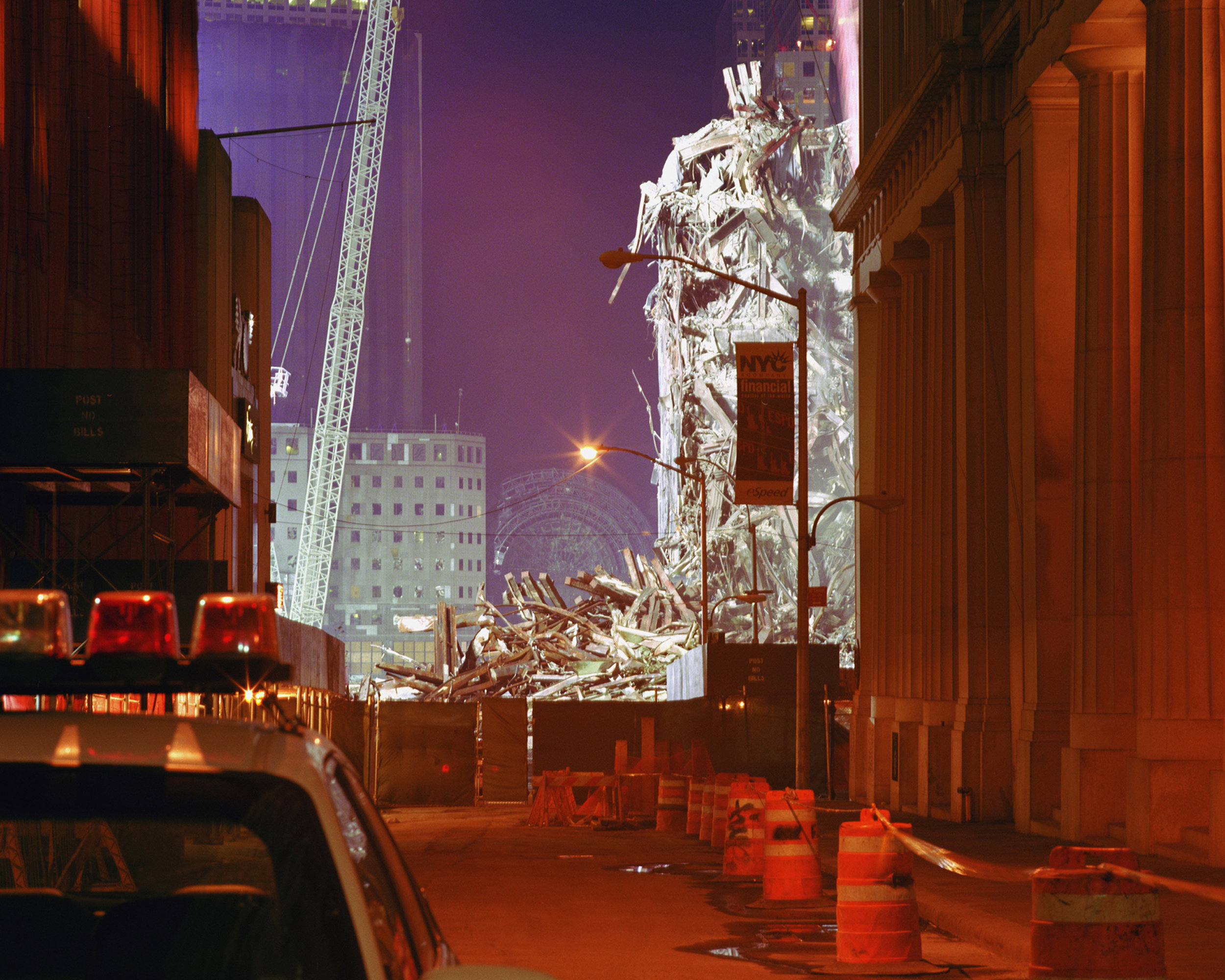 Connie Samaras,  Angelic States - Events Sequence: NY Financial District, WTC November , 2001  Digital pigment print, 40 x 50 inches, edition of 5   Inquire