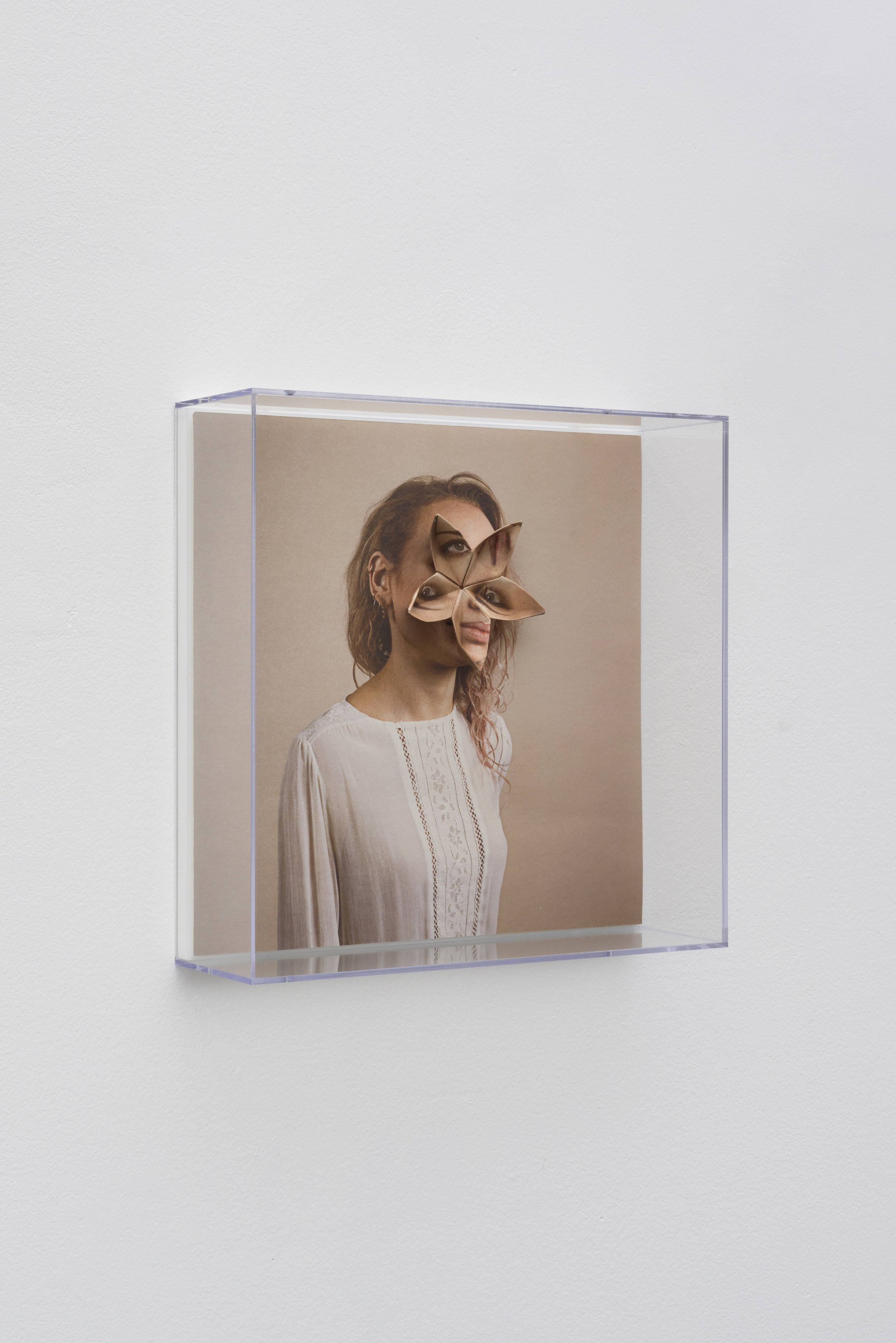 Alma Haser,  Patient No. 40 HD (Hannah) , 2017  Digital pigment print with folded digital pigment print sculpture, plexiglass box, 30 x 30 x 10 cm (approx. 12 x 12 x 4 in), edition of 5   Inquire