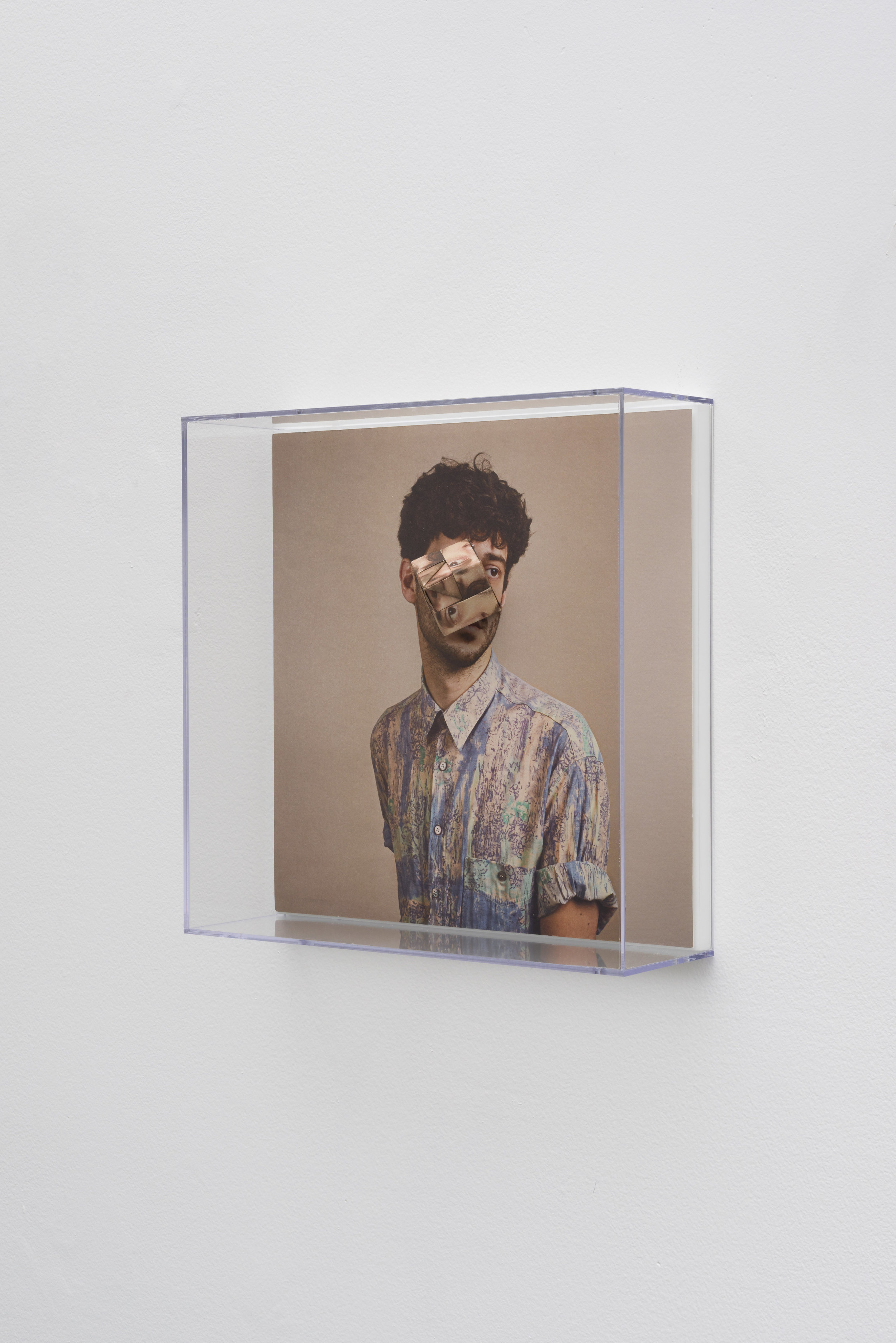 Alma Haser,  Patient No. 34 HD (Ben) , 2017  Digital pigment print with folded digital pigment print sculpture, plexiglass box, 30 x 30 x 10 cm (approx. 12 x 12 x 4 in), edition of 5   Inquire
