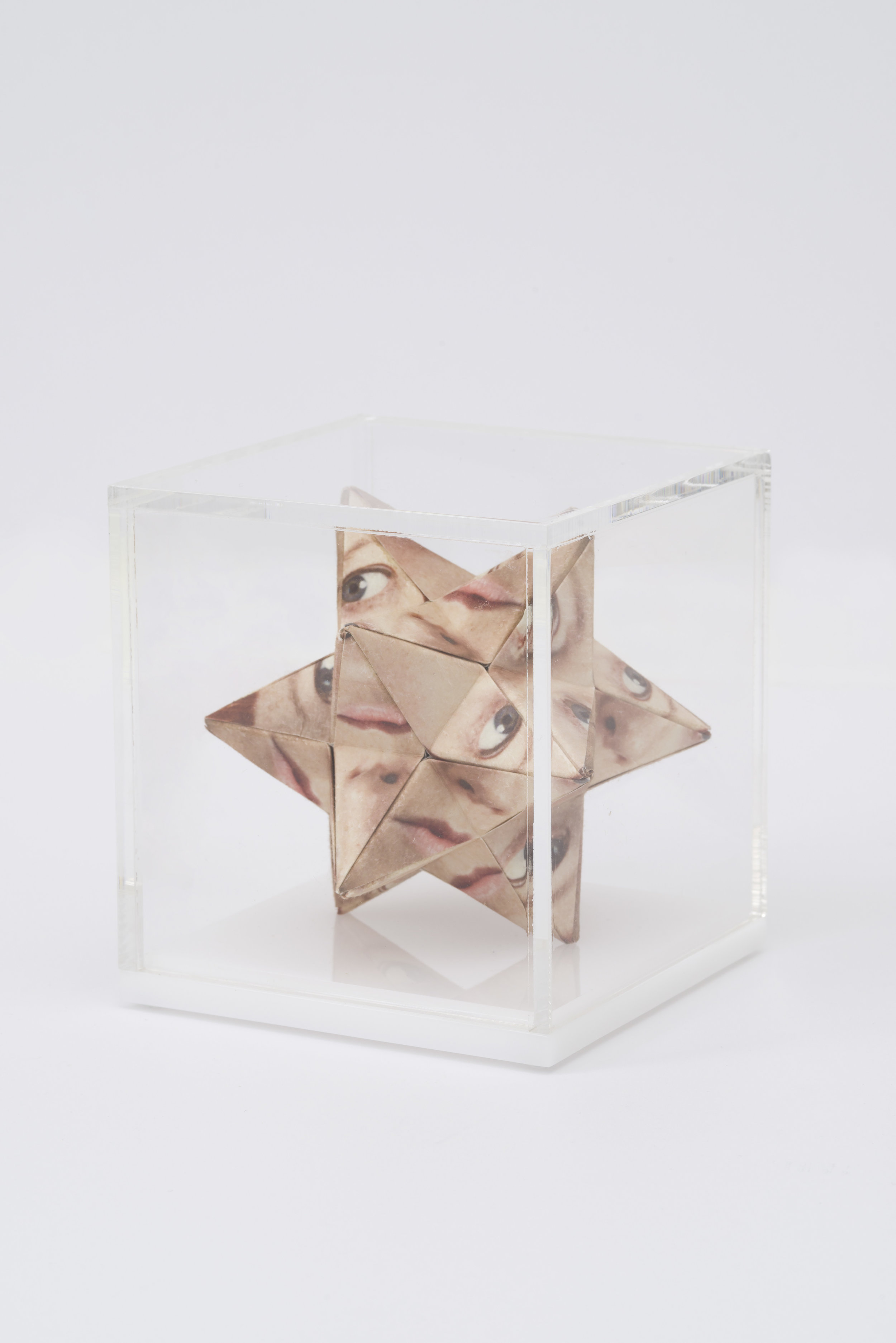 Alma Haser,  Prototype No. 36 (Zoniel) , 2016  Digital pigment print with folded digital pigment print sculpture, plexiglass box, 12 x 12 x 12 cm (approx. 5 x 5 x 5 in), edition of 5   Inquire