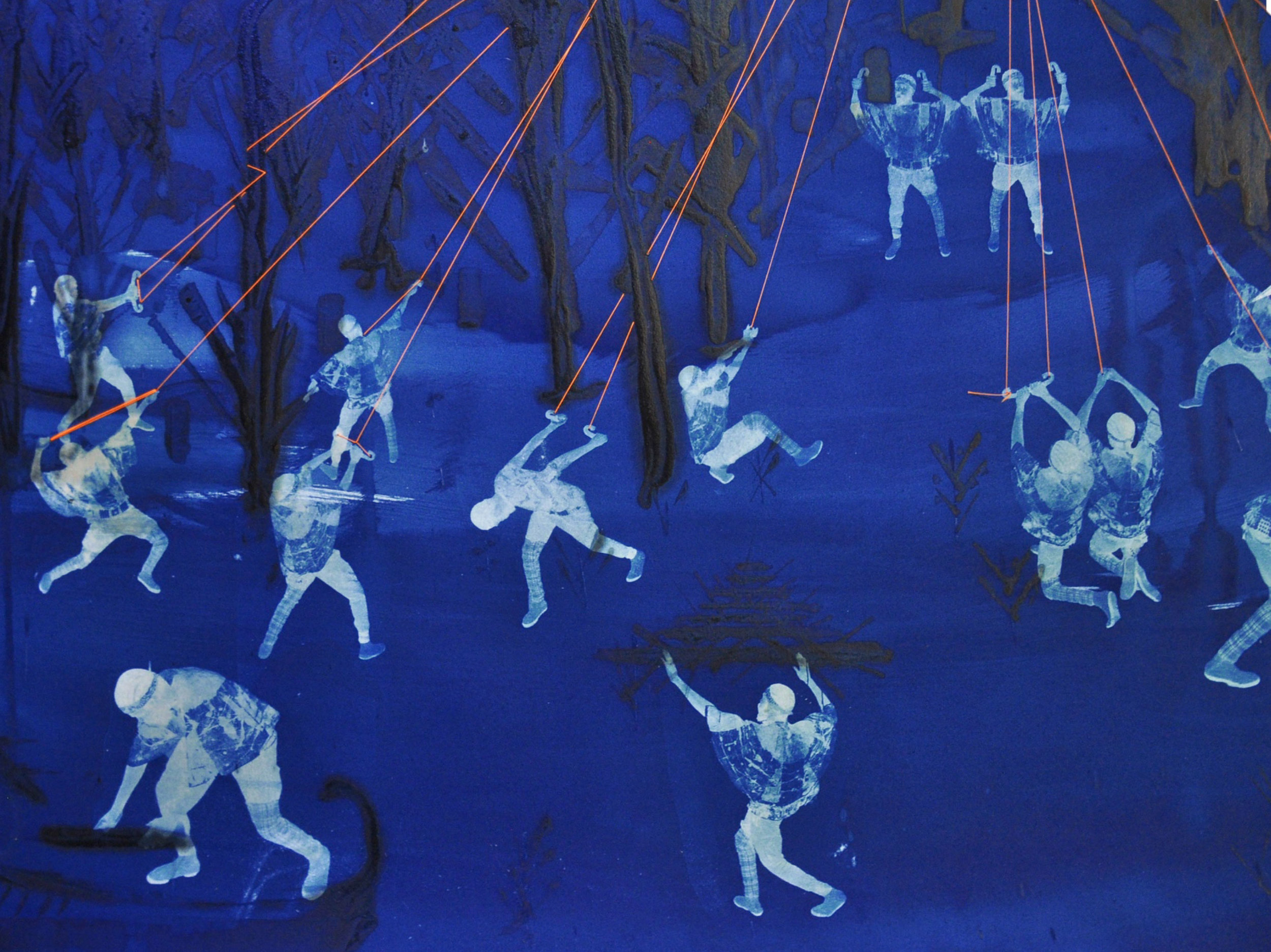 Ivan Forde,  Morning Raid (detail) , 2017  Cyanotype on paper, thread, 41 x 41 in, unique   Inquire
