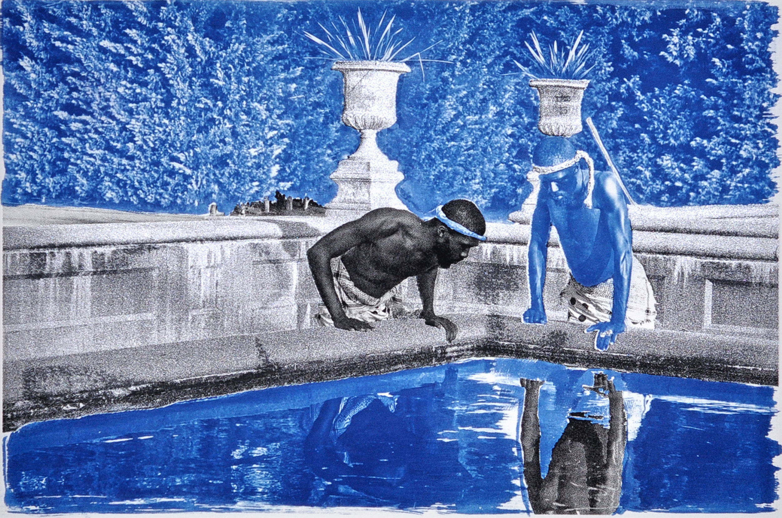 Ivan Forde,  Reflection , 2016  Silkscreen and cyanotype on paper, 12.5 x 18 inches (image size), 22 x 30 inches (paper size), edition of 3; 19 x 29 inches (image size), 22 x 30 inches (paper size), edition of 3   Inquire