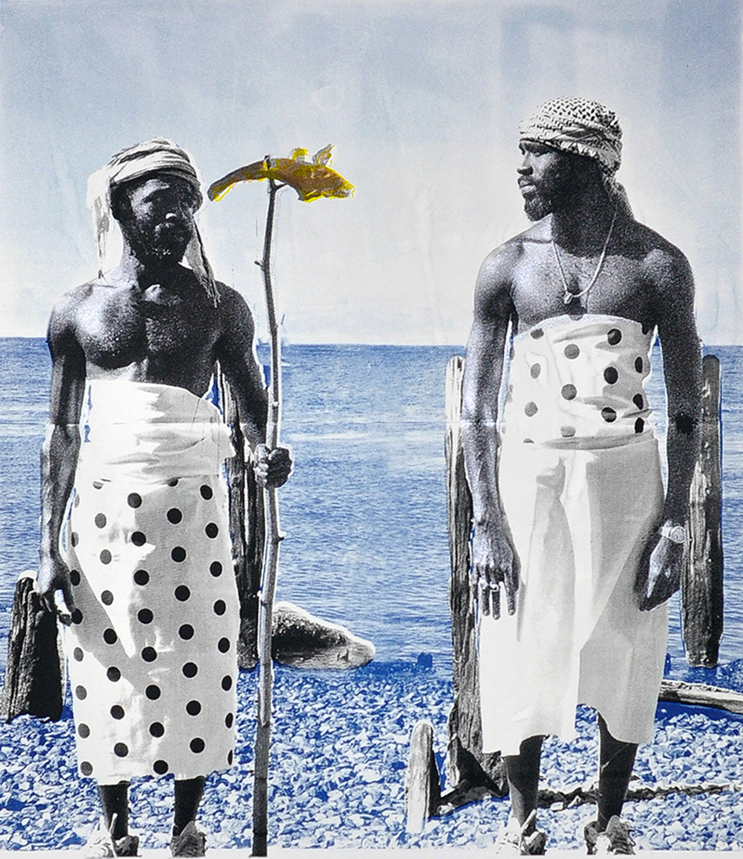 Ivan Forde,  Fishing , 2016  Silkscreen, gouache, cyanotype on paper, 20 x 18 inches (image size), 40 x 30 inches (paper size), edition of 3  Special editions:   Silkscreen, gouache, cyanotype, ceramic glaze on paper, 40 x 33 inches (image and paper size), edition of 3  Silkscreen and cyanotype on fabric, 40 x 33 inches (image size), 46 x 39 inches (fabric size), edition of 2   Inquire