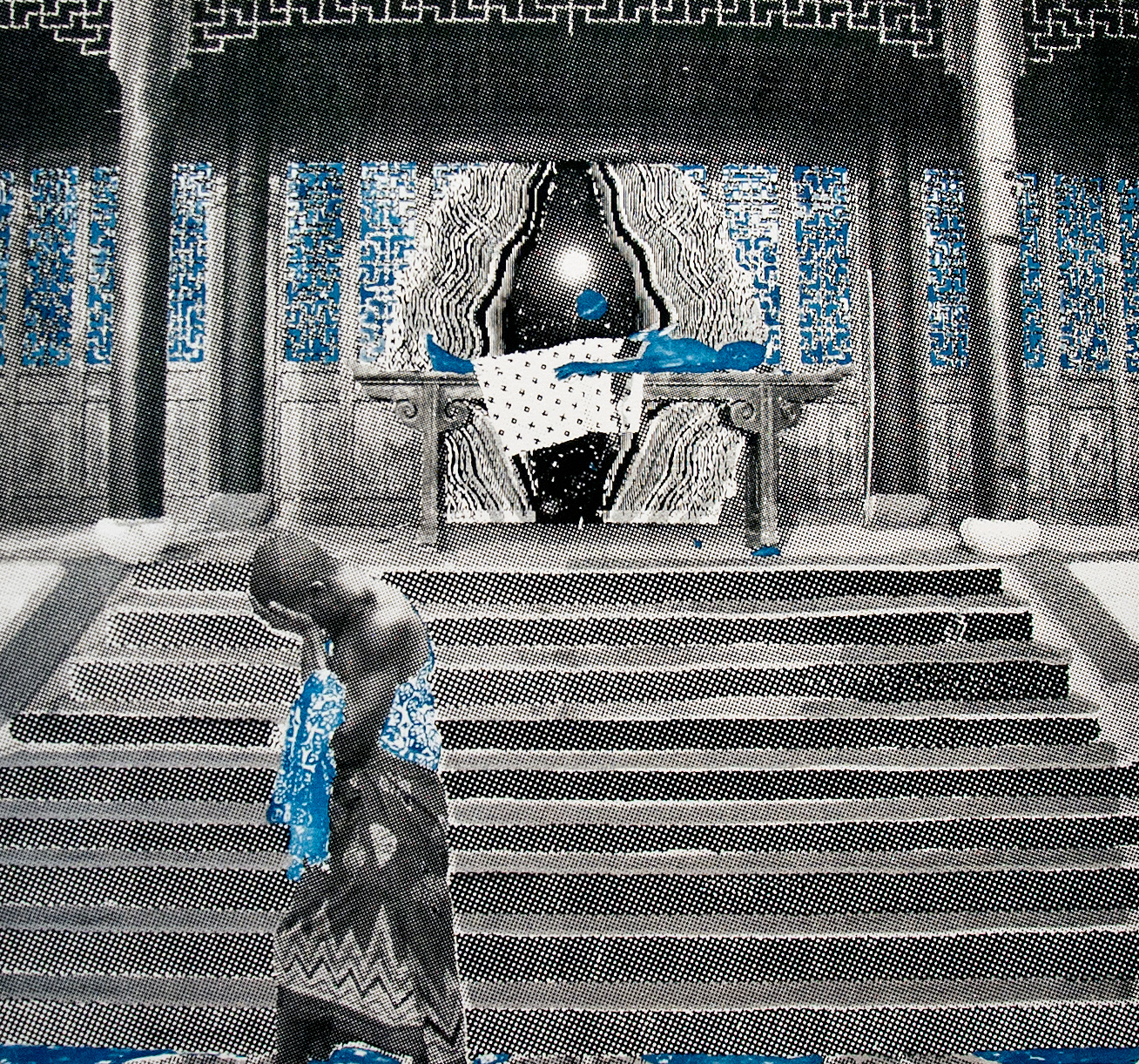Ivan Forde,  Death of Enkidu , 2016  Silkscreen and cyanotype on paper, 16 x 18 inches (image size), 22 x 30 inches (paper size), edition of 3   Inquire