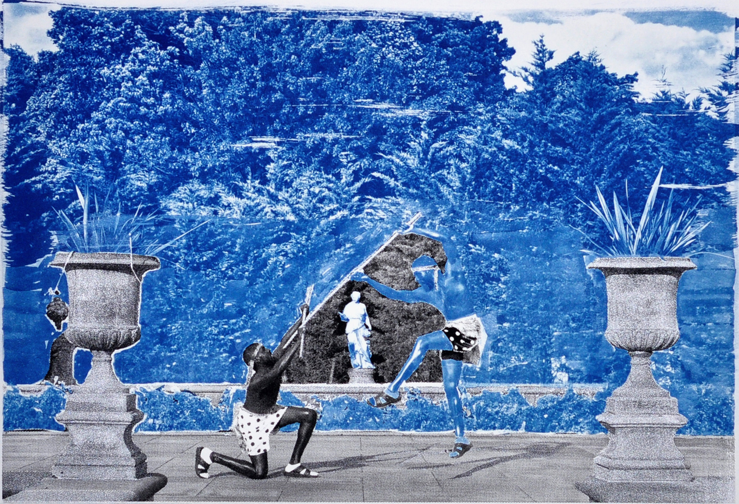 Ivan Forde,  Preparations for the Expedition to the Forest of Cedar , 2016  Silkscreen and cyanotype on paper, 12.5 x 18 inches (image size), 22 x 30 inches (paper size), edition of 3   Inquire