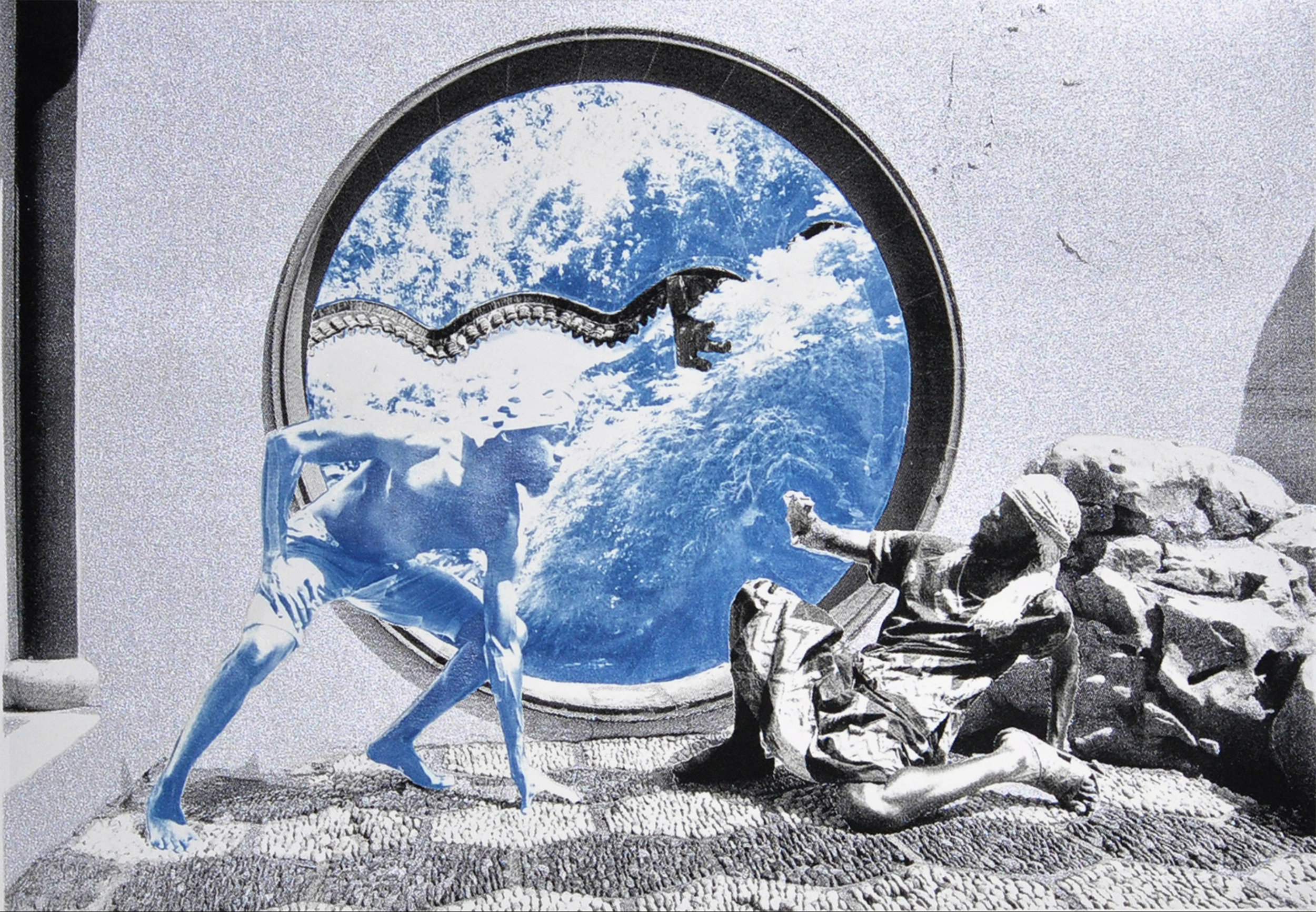 Ivan Forde,  Encounter , 2016  Silkscreen and cyanotype on paper, 12.5 x 18 inches (image size), 22 x 30 inches (paper size), edition of 3   Inquire