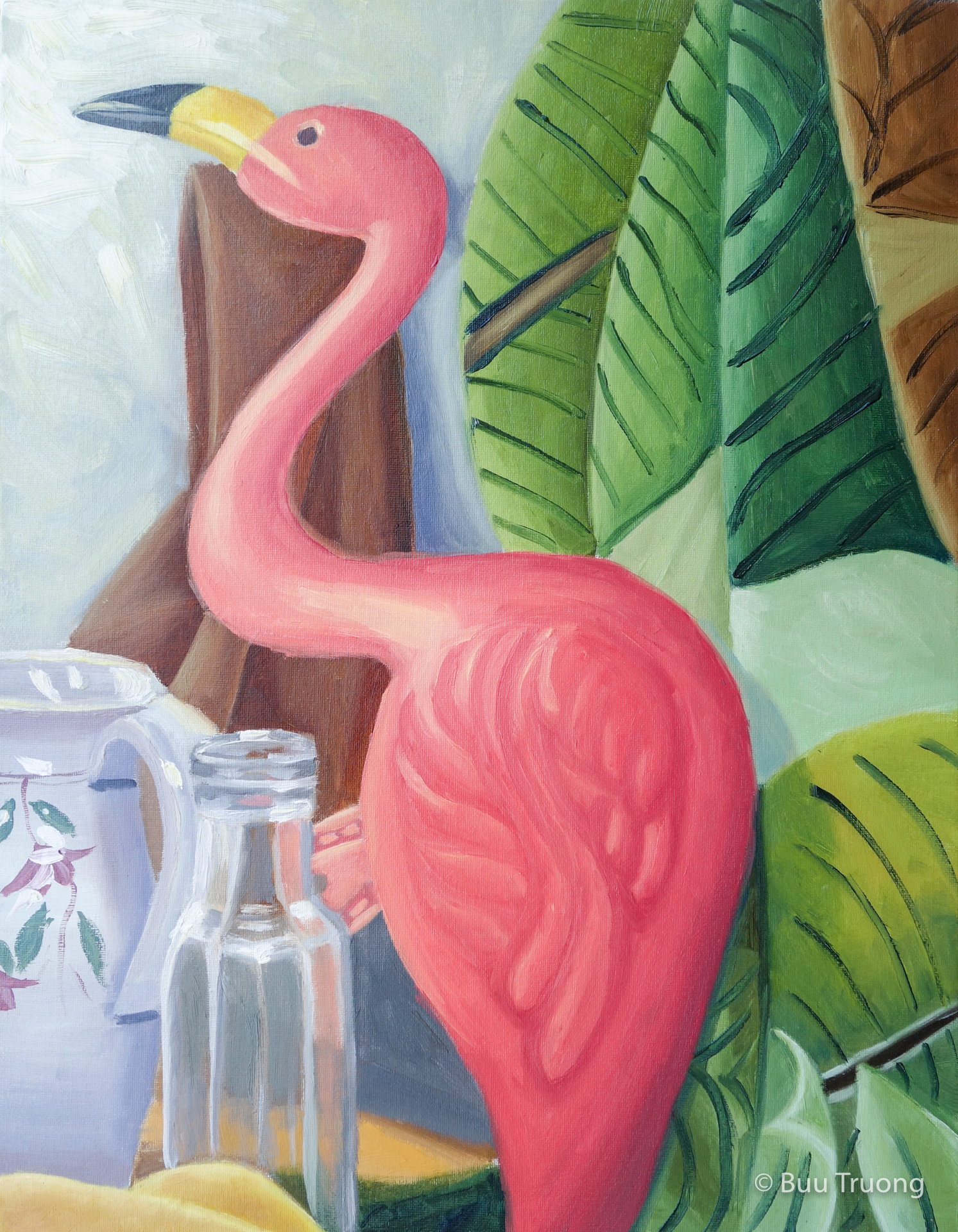 Flamingo and Patterned Fabric