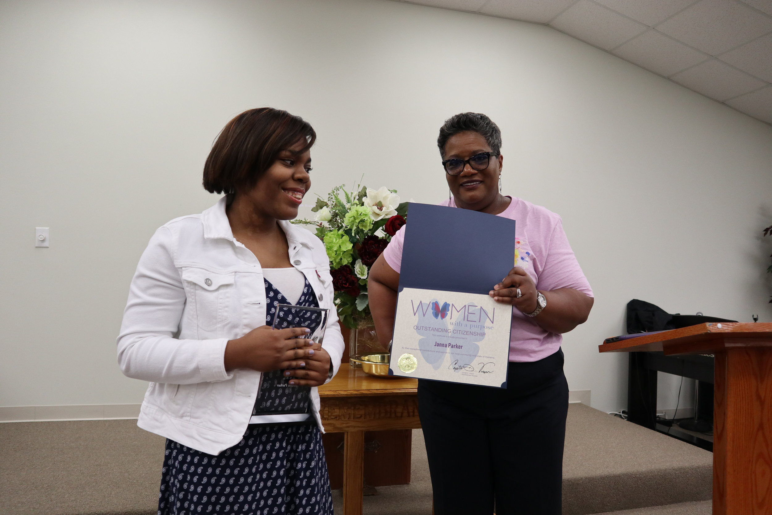 (l to r) Janna Parker, 2019 WWAP Citizenship Award Recipient and Crystal Vinson, WWAP Founder.  The recipient of this award is honored because she makes an impact in the lives of those around her by selflessly using her talent, time, and resources to help them have a better life impacting her community and expecting nothing in return.