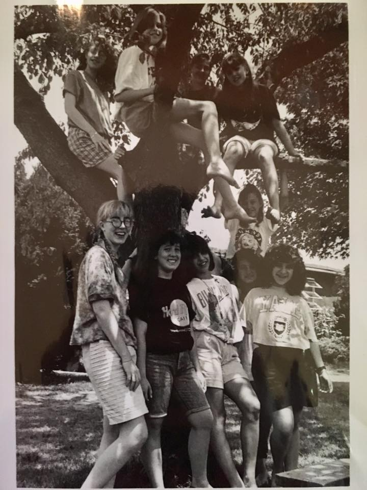 Me and my giant summer hair (bottom right) and my bunkmates in 1990.