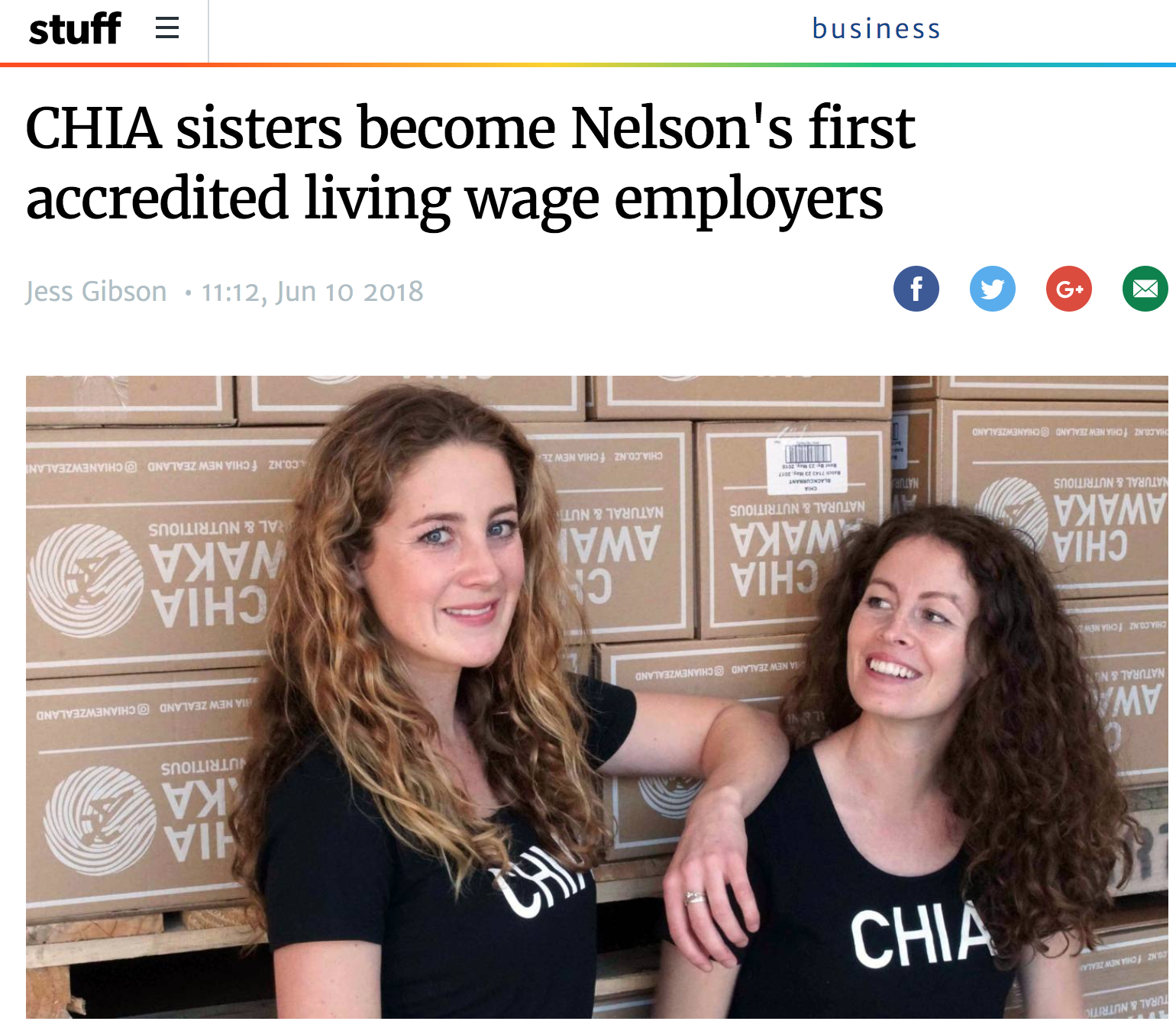Chia Sisters are Nelson's first accredited Living Wage employers