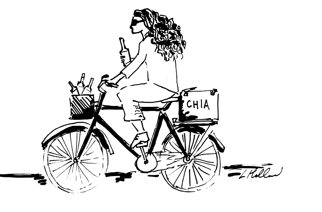 Chia Sisters On Bikes by Lucy Holland