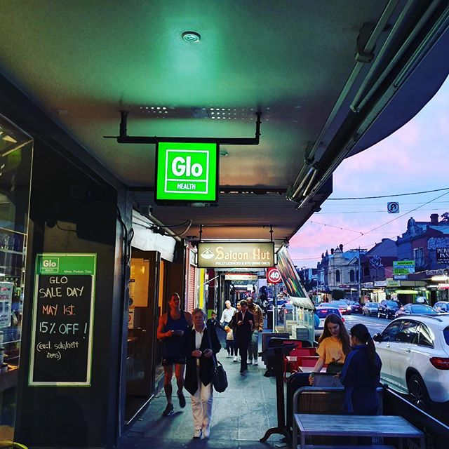 The night before Sale Day...and Glen Huntly Rd is buzzing with the vibe of a beautiful sunset. Hope to see you in-store tomorrow for our monthly sale day. Open 9am-6pm