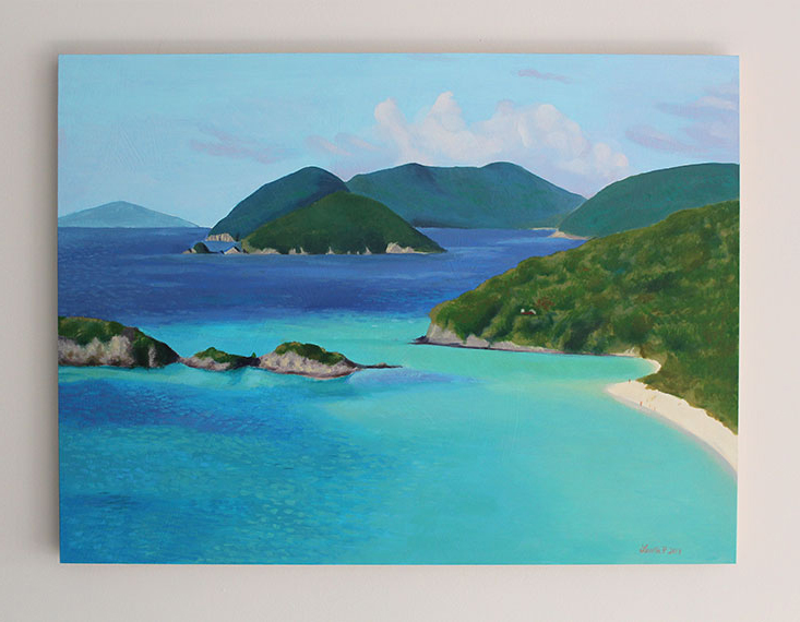Oil Painting of Trunk Bay Beach in St. John.