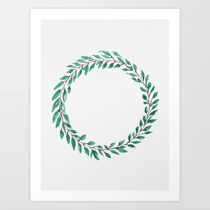 Green Wreath - Art Print |  $21.99
