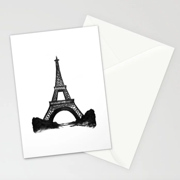 Eiffel Tower in Black - 5x7 Cards (set of 10)  $23.99