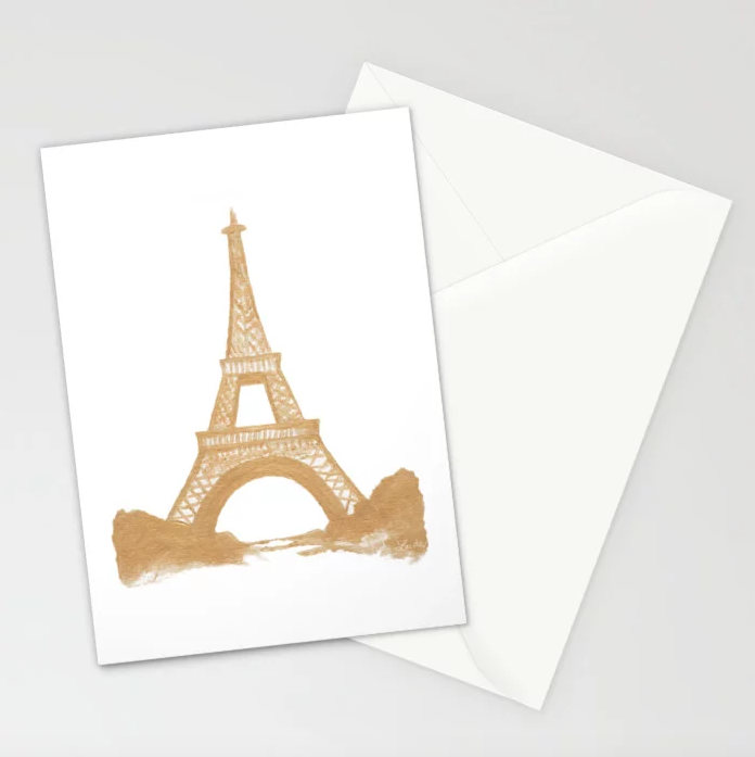 Eiffel Tower in Gold - 5x7 Cards (set of 10)    $23.99
