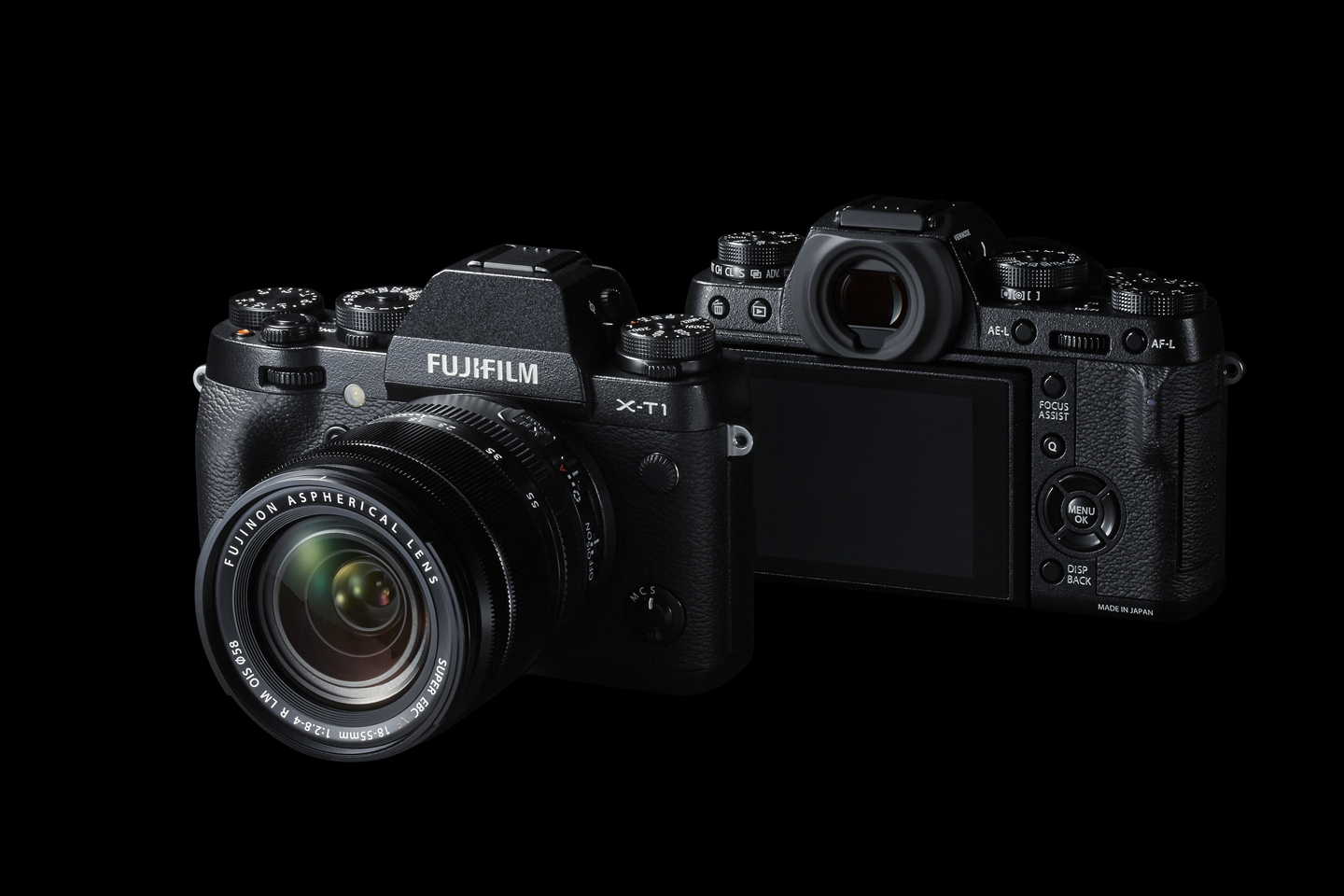 Fujifilm X-T1 - The X-T1 was introduced in 2014 and was Fujifilm's first DSLR styled mirrrorless body. The magnesium body is sealed for weather-resistance against water and dust and is also freezeproof down to -10 degrees C (14 degrees F). The top plate features a wealth of manual controls with dials for exposure compensation, shutter speed and ISO and sub-dials for metering and drive modes. The electronic viewfinder is a large, bright, high resolution OLED unit that offers a 100% view of your scene. The X-T1 uses Fujifilm's 16.3 MP X-trans sensorwhich is unique to the X-series cameras.The X-T1 has since been followed by the X-T2.
