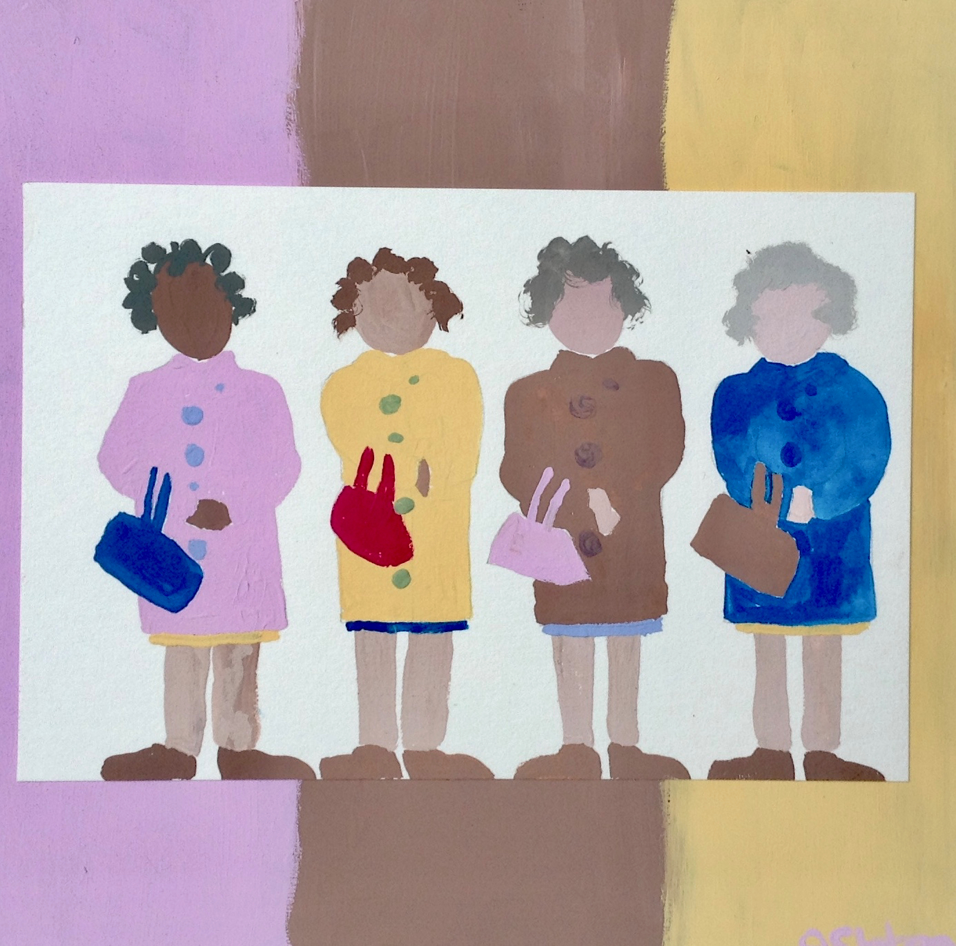 Neapolitan Grandmothers - My Grandmothers were various colors, but they all felt the same to hug.Gauche on paper mounted on 10x10