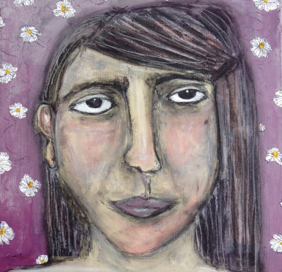 Wallflower - I felt like a wallflower, unseen, forever a scared 12 year old. In my family, we were taught to hide.12 x 12 Acrylic and charcoal on canvas.