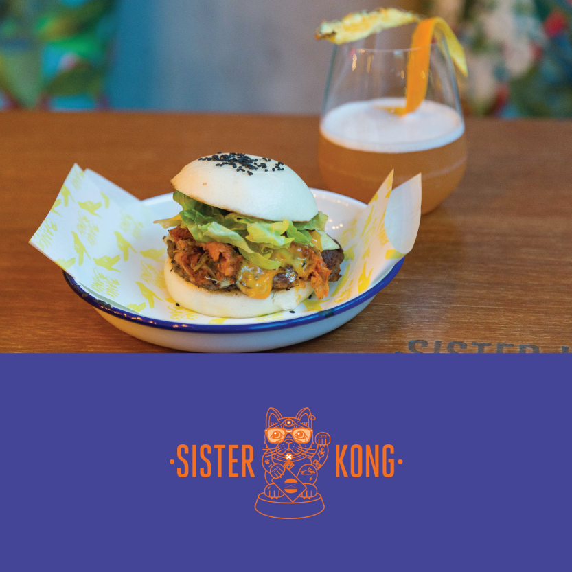 Sister Kong   (123 Victoria Street, Christchurch)   Wagu Kimcheese Burger Wagyu beef, Charred kimchi, American cheese, iceburg lettuce, Little Kitty special sauce / Beverage pair: Sour beer cocktail & beer combo