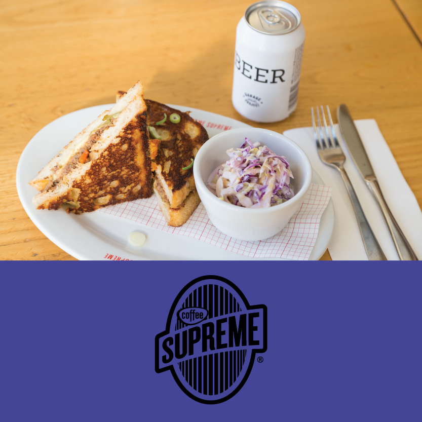 Supreme Supreme   (10 Welles St, Christchurch Central)   Savoury mince toastie: with smoked cheese, McClure's sweet and spicy pickles, and a side of buttermilk slaw. Vege alternative: mushroom duxelle toastie with smoked cheese, McClure's sweet and spicy pickles, and a side of buttermilk slaw / Beverage pair: Garage Project Beer